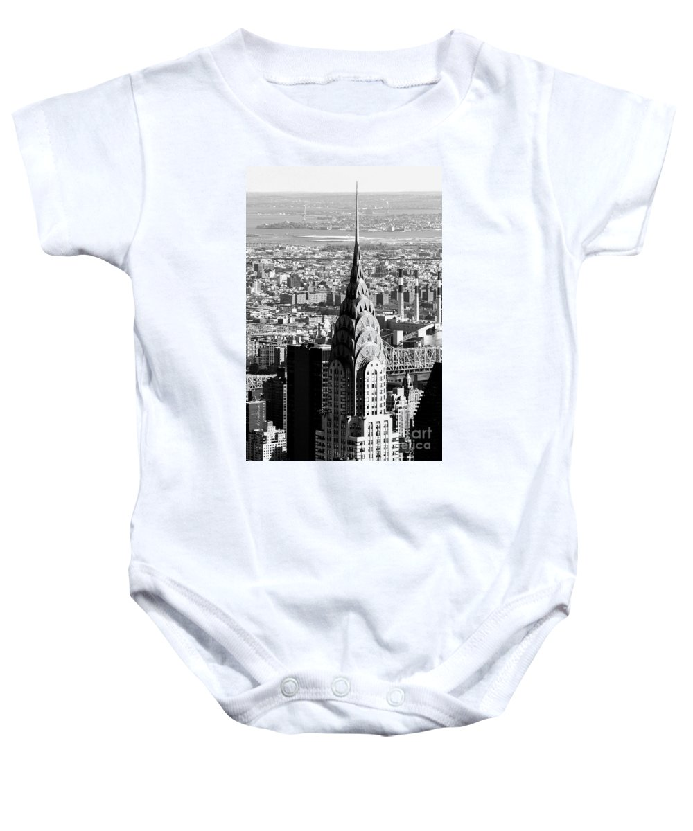 New York City Chrysler Building Baby Onesie featuring the photograph Crysler Building In New York City by Terri Morris