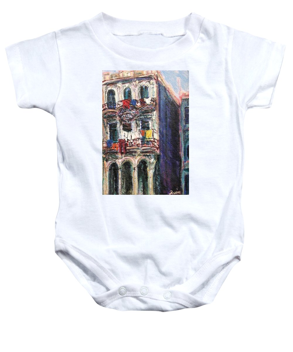 Cities Baby Onesie featuring the painting Cuba Edificios by Quin Sweetman