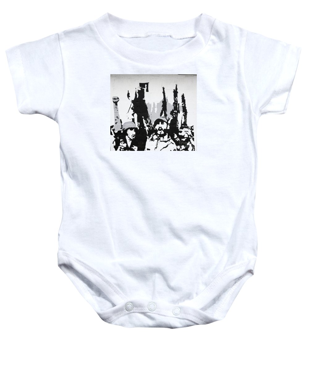 Art Baby Onesie featuring the photograph Cuban Revolution Painted On A Wall by Deborah Benbrook