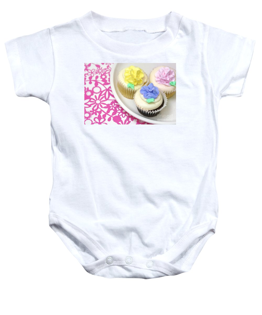 Baked Goods Baby Onesie featuring the photograph Cupcakes On A Plate by Amy Cicconi