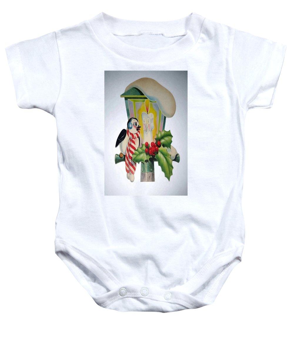 Bird Baby Onesie featuring the digital art Cute Vintage Christmas by Tracey Harrington-Simpson