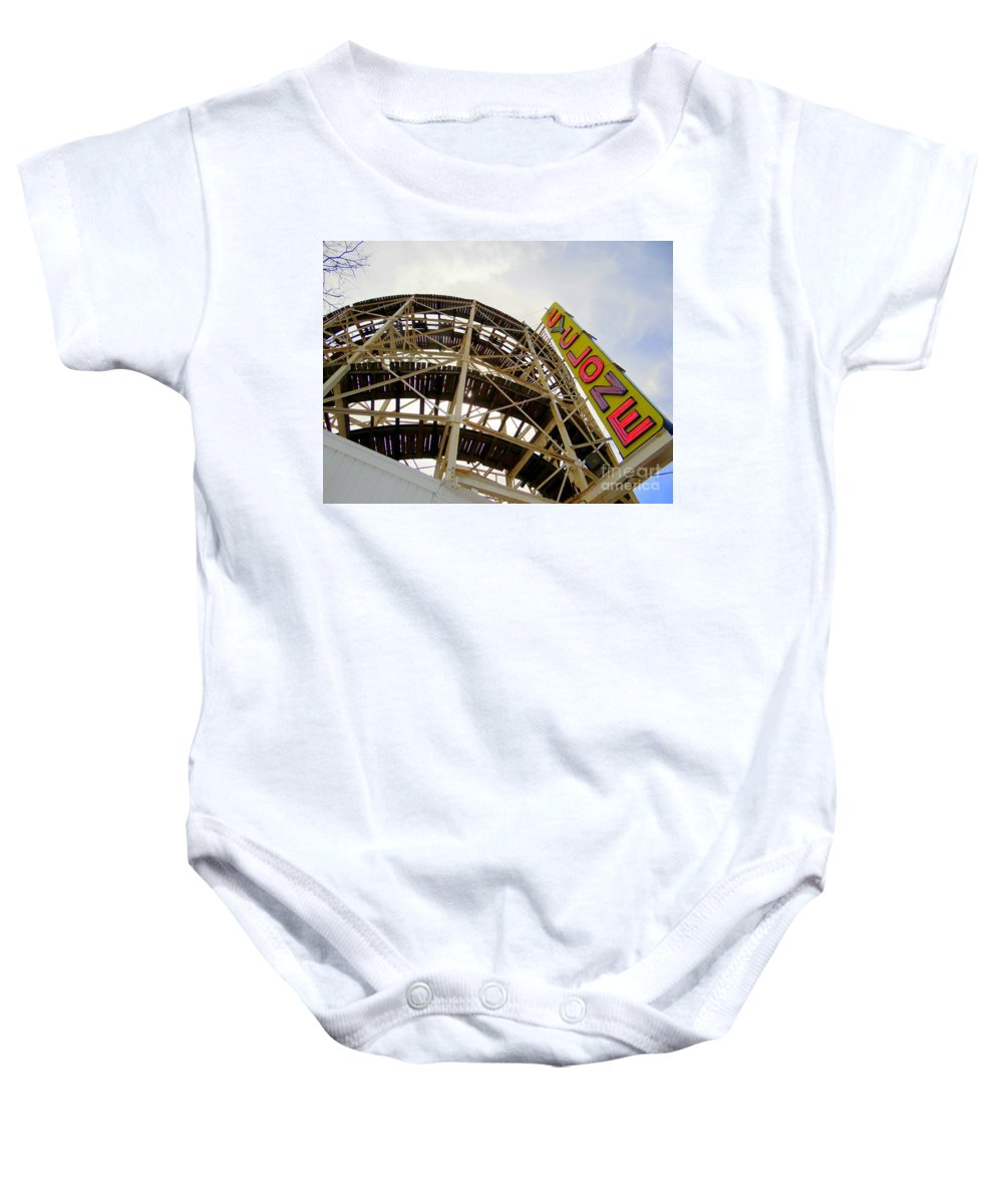 Roller Coaster Baby Onesie featuring the photograph Cyclone Roller Coaster by Ed Weidman