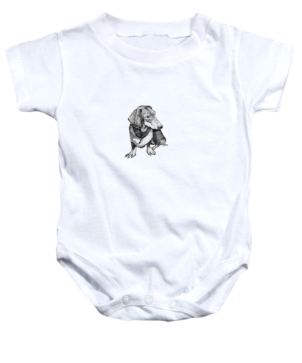 Dog Baby Onesie featuring the drawing Dachshund by Petra Stephens