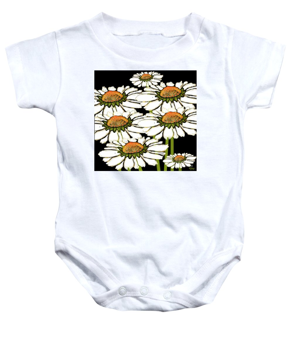 Daisy Baby Onesie featuring the digital art Daisies In The Dark by Carol Jacobs