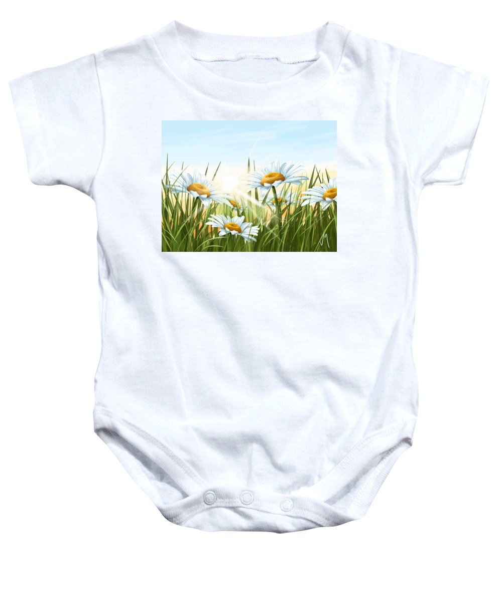 Flowers Baby Onesie featuring the painting Daisies by Veronica Minozzi