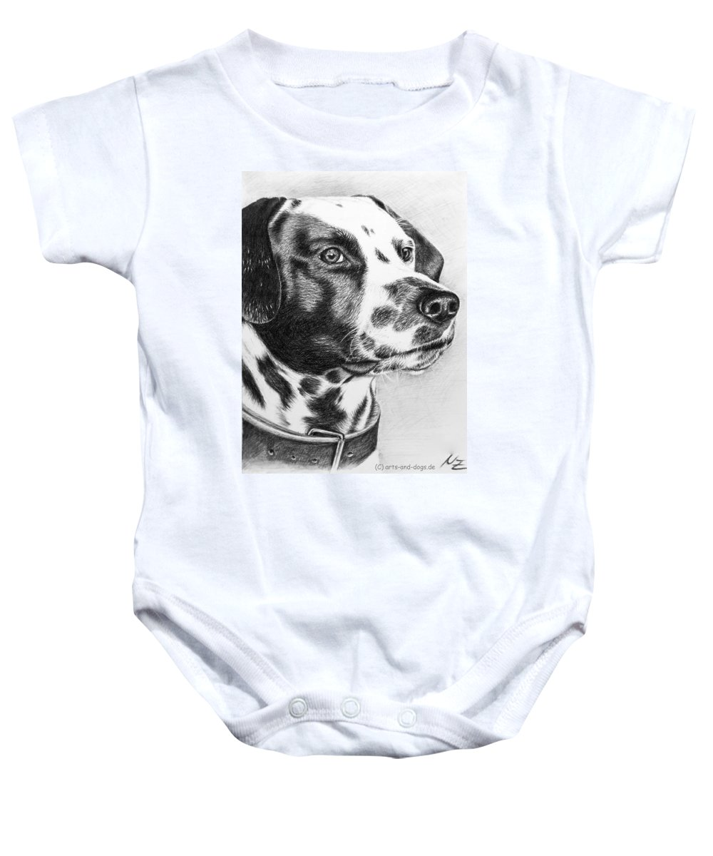 Dog Baby Onesie featuring the drawing Dalmatian Portrait by Nicole Zeug
