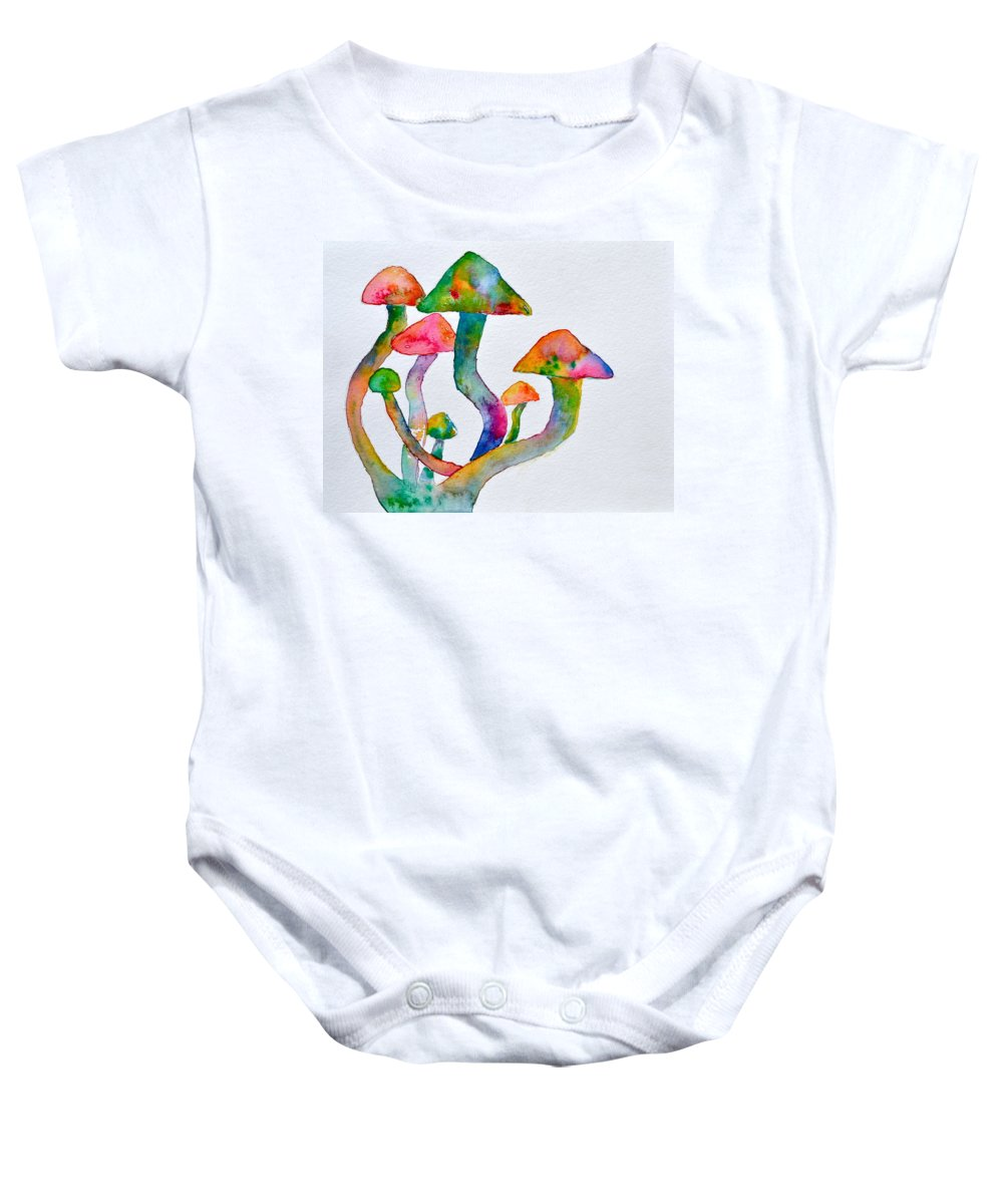 Visions Baby Onesie featuring the painting Dancing Cubensis by Beverley Harper Tinsley