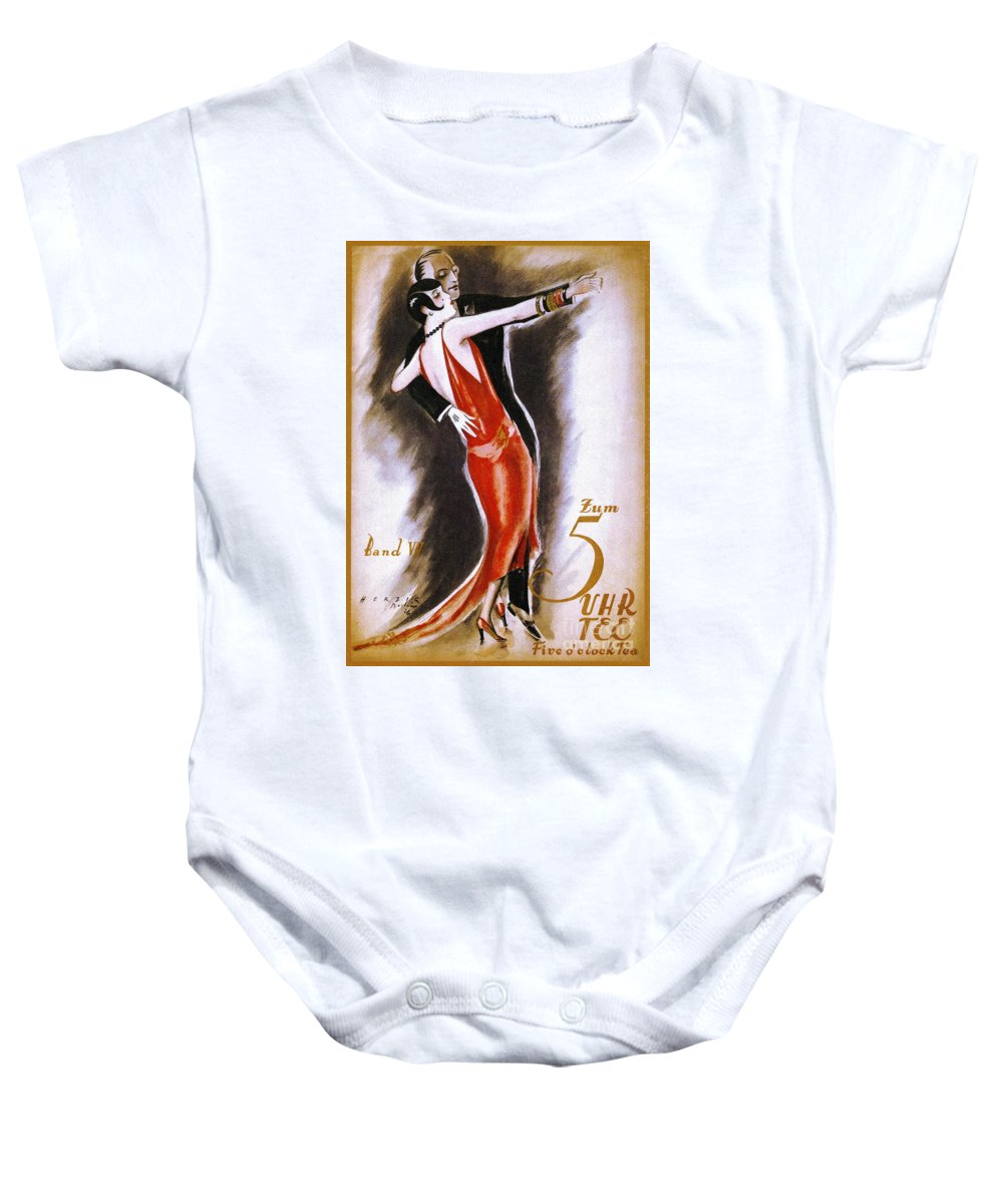 1926 Baby Onesie featuring the drawing Dancing The Tango by Granger