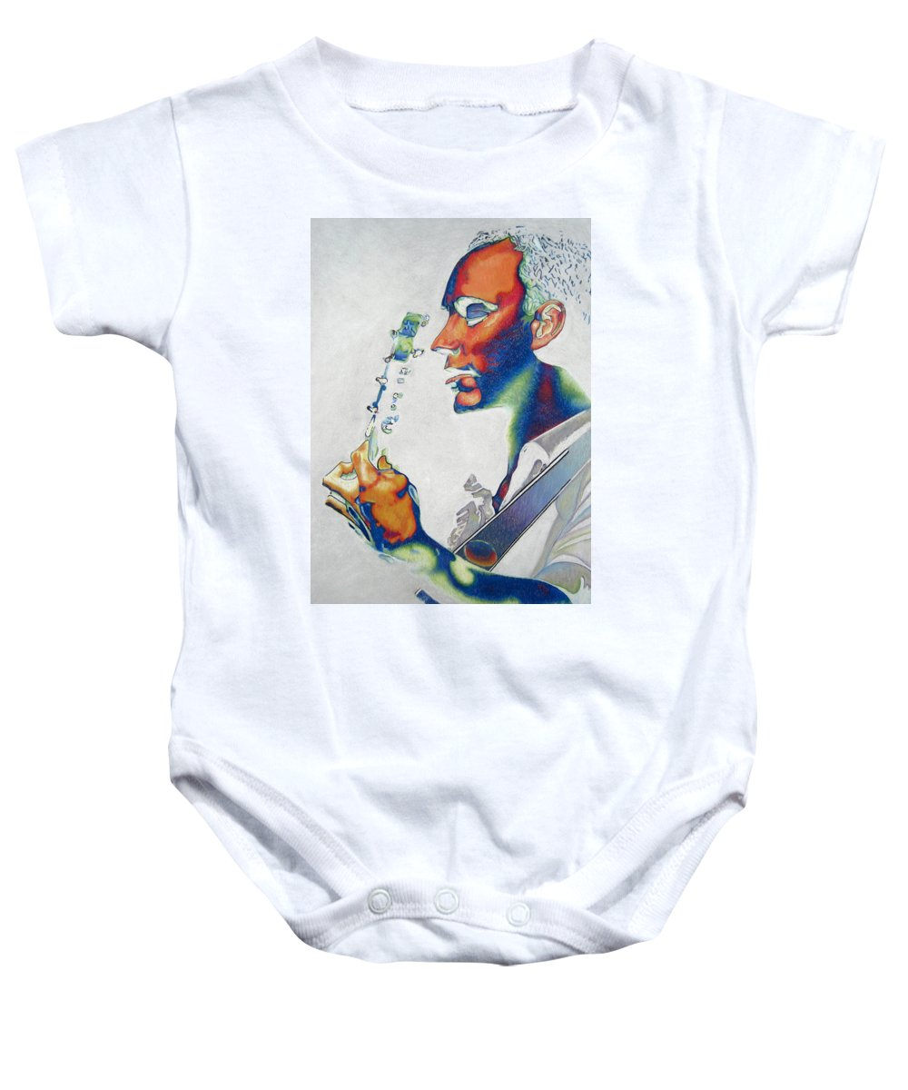 Dave Matthews Baby Onesie featuring the drawing Dave Matthews by Joshua Morton