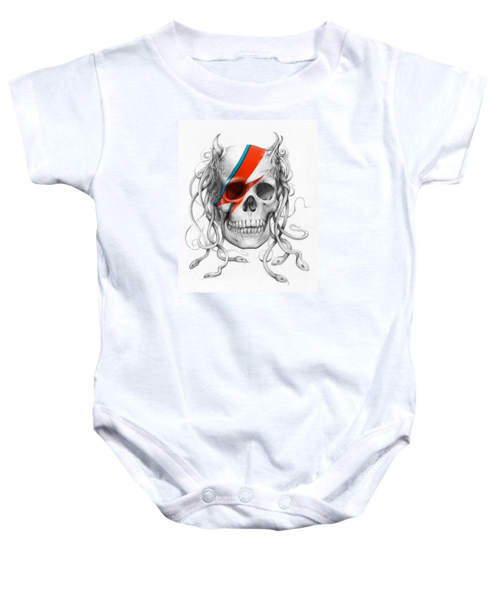 David Bowie Baby Onesie featuring the drawing David Bowie Aladdin Sane Medusa Skull by Olga Shvartsur