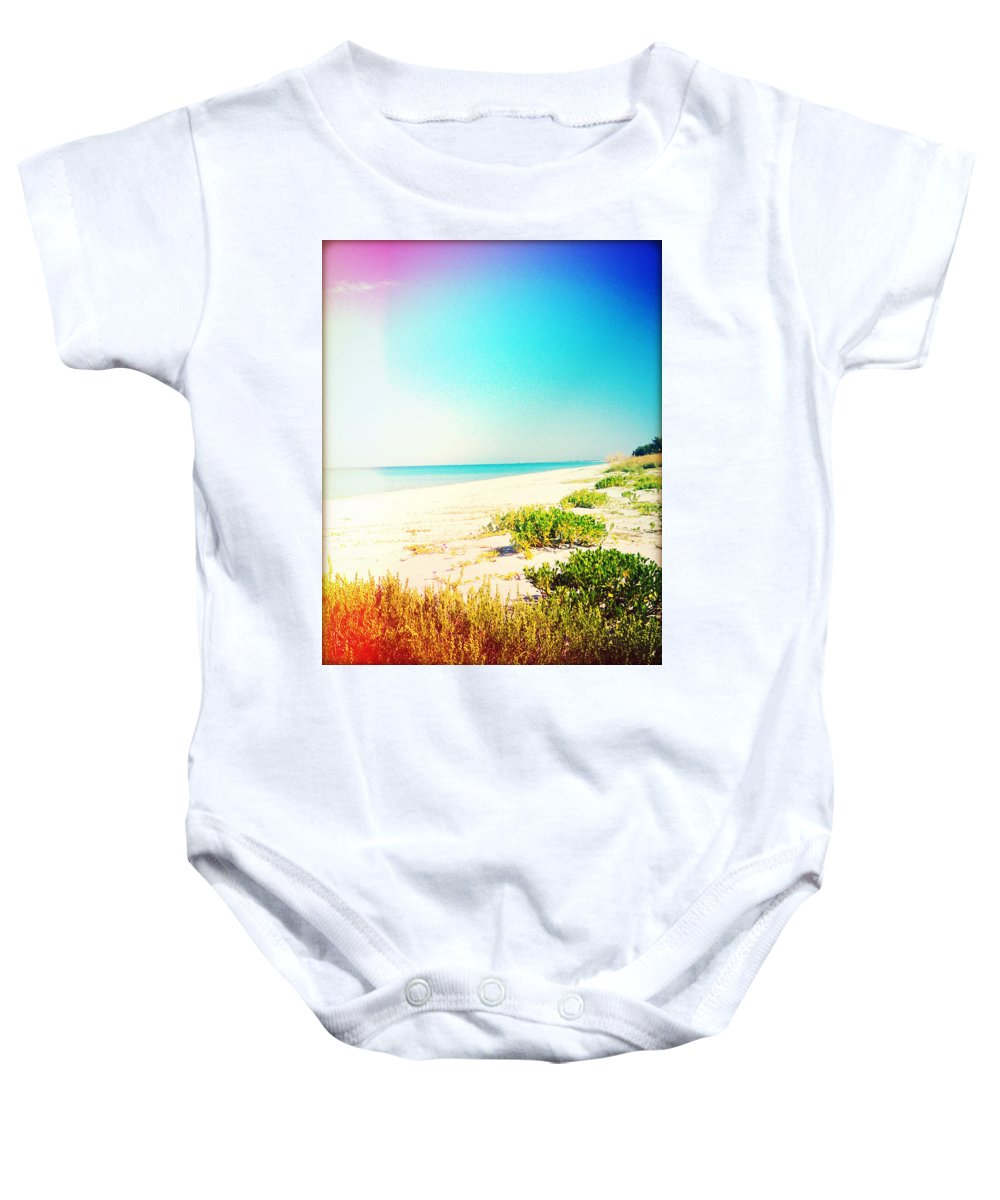 Florida Baby Onesie featuring the photograph Day At The Beach Photography Light Leaks by Chris Andruskiewicz