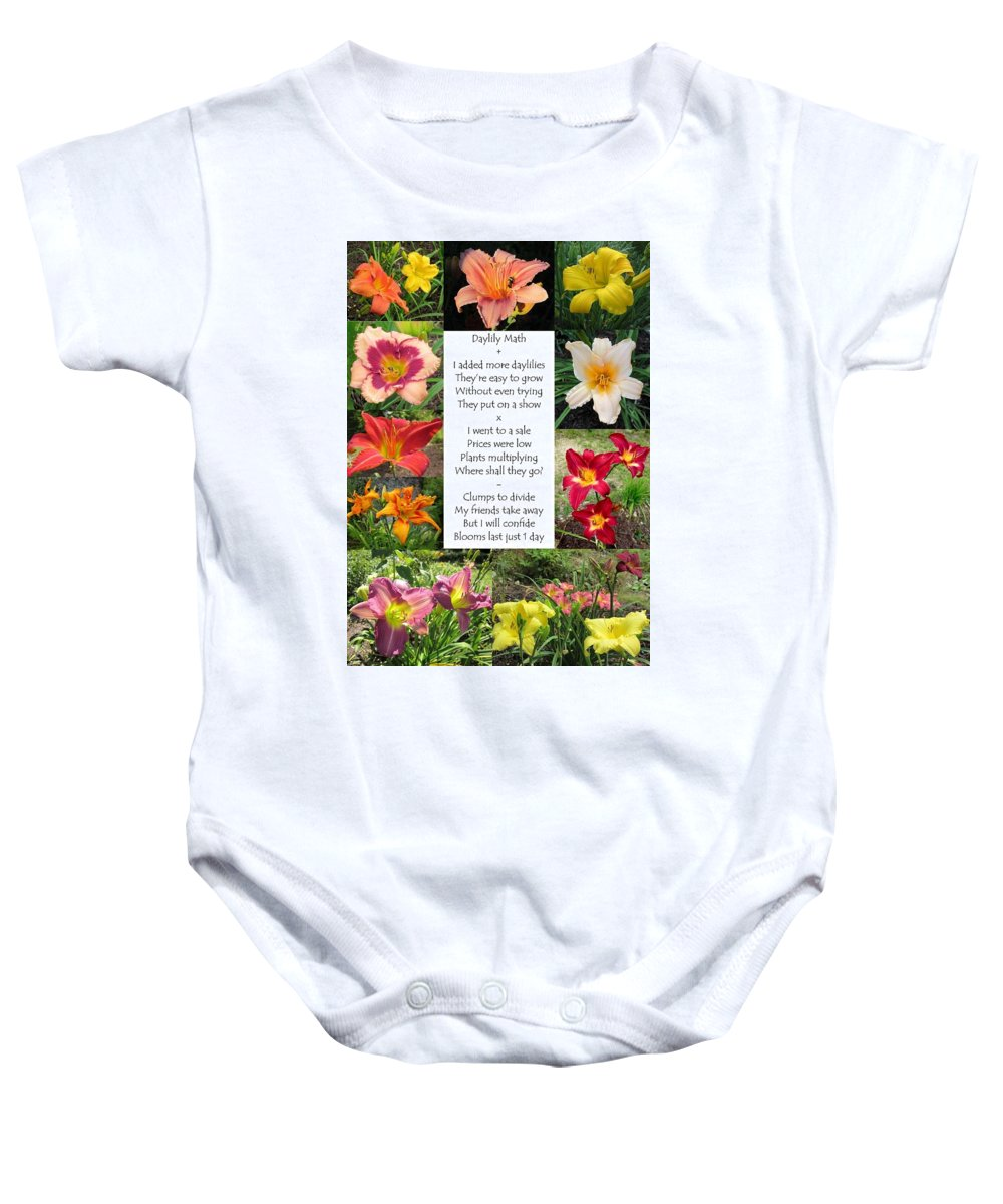 Daylily Math Poem Baby Onesie featuring the photograph Daylily Math by MTBobbins Photography