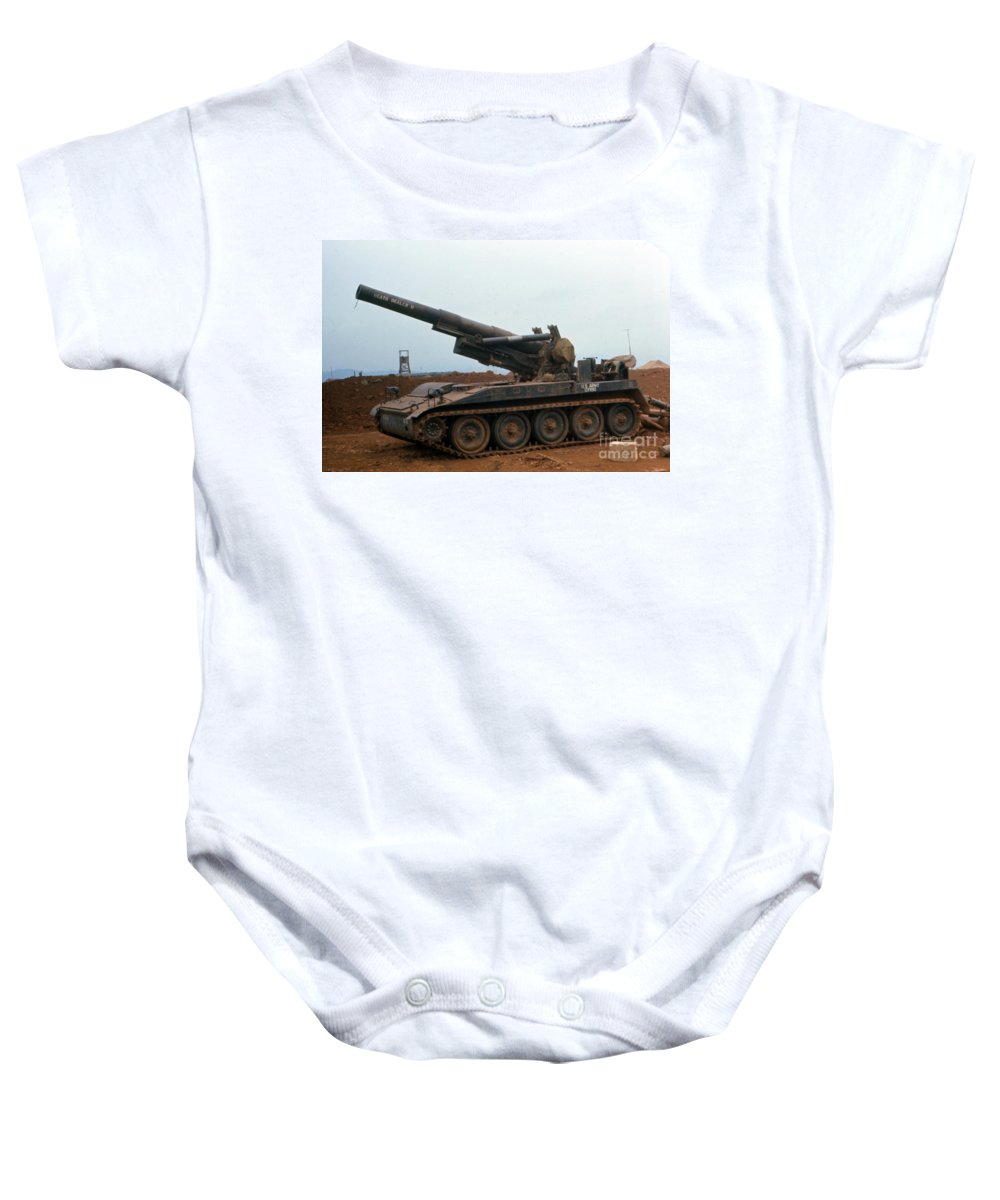 Highway 14 Baby Onesie featuring the photograph Death Dealer II 8 Inch Howitzer At Lz Oasis Vietnam 1968 by California Views Mr Pat Hathaway Archives