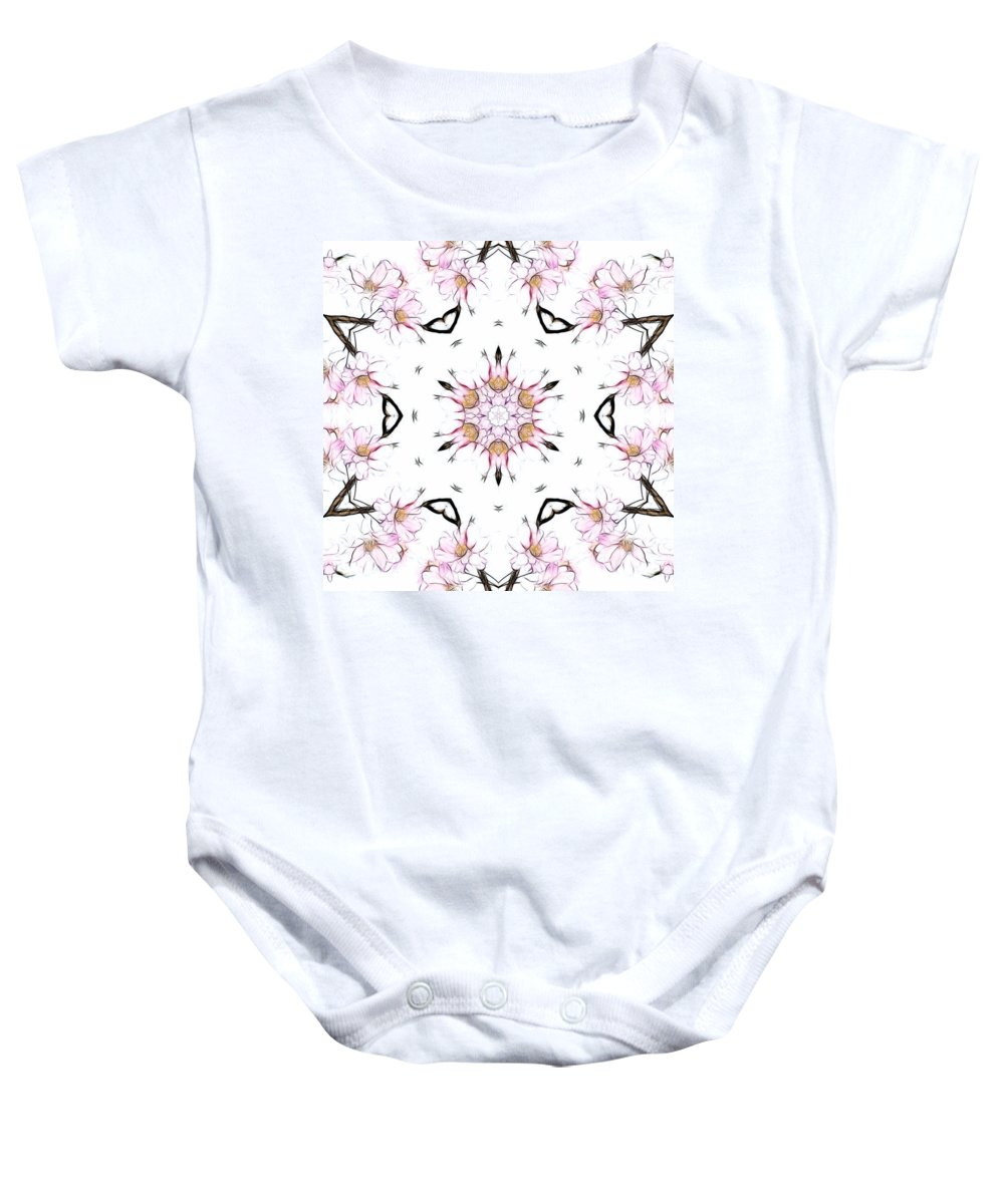 Kaleidoscope Baby Onesie featuring the photograph Delicate Cherry Blossom Fractal Kaleidoscope by Kathy Clark