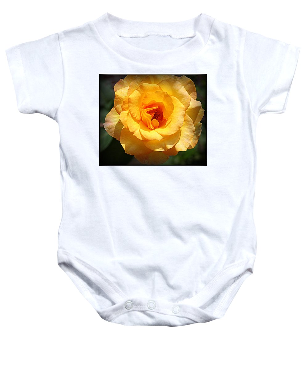 Roses Baby Onesie featuring the photograph Delicate Yellow Rose by Dora Sofia Caputo Photographic Design and Fine Art