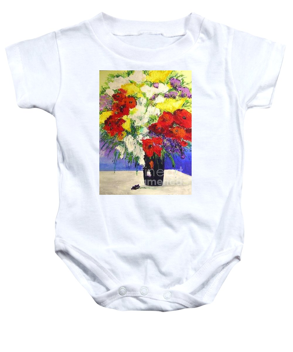 Landscape Baby Onesie featuring the painting Delightful by Allan P Friedlander