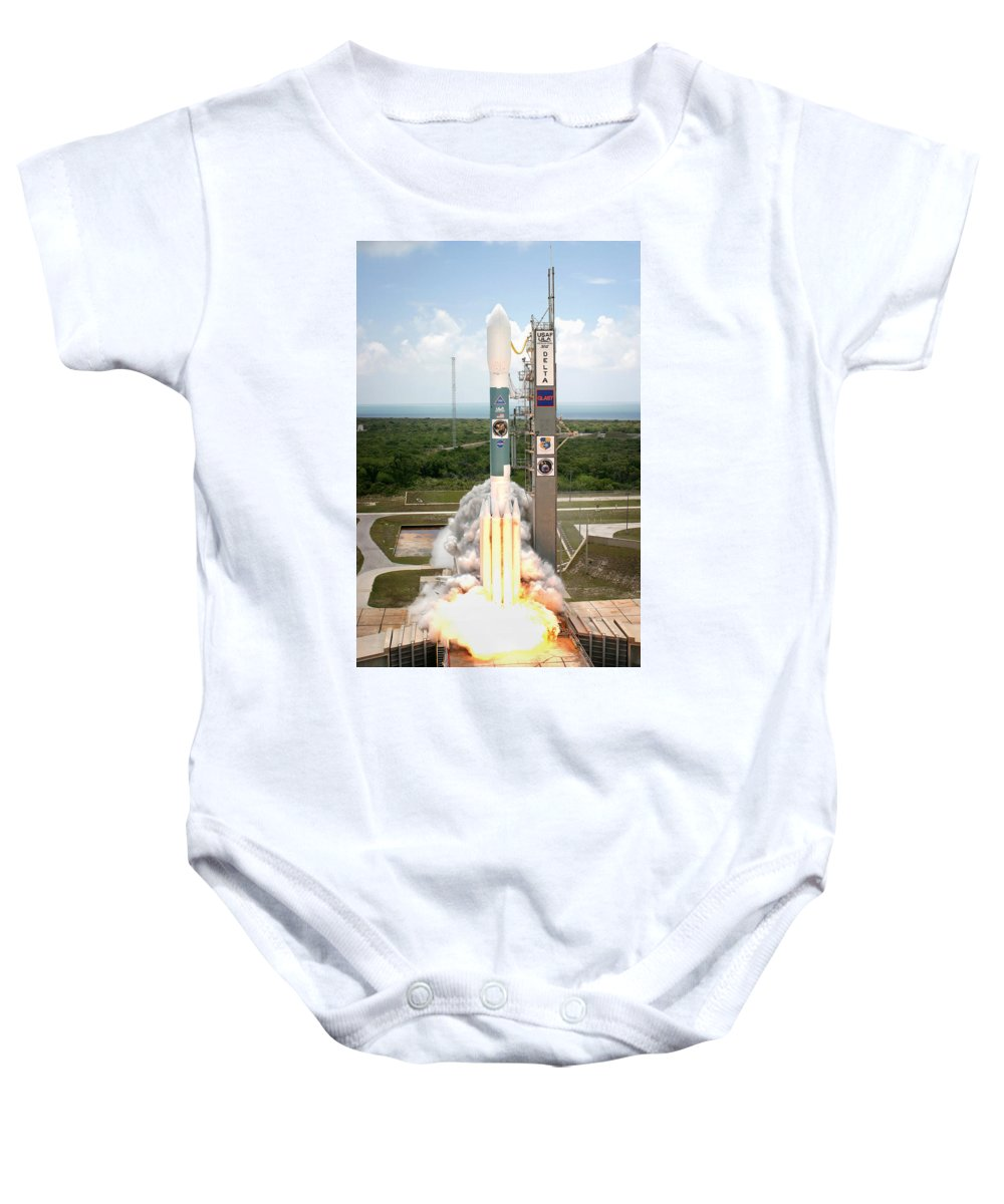 Astronomy Baby Onesie featuring the photograph Delta II Launch With Space Telescope by Science Source