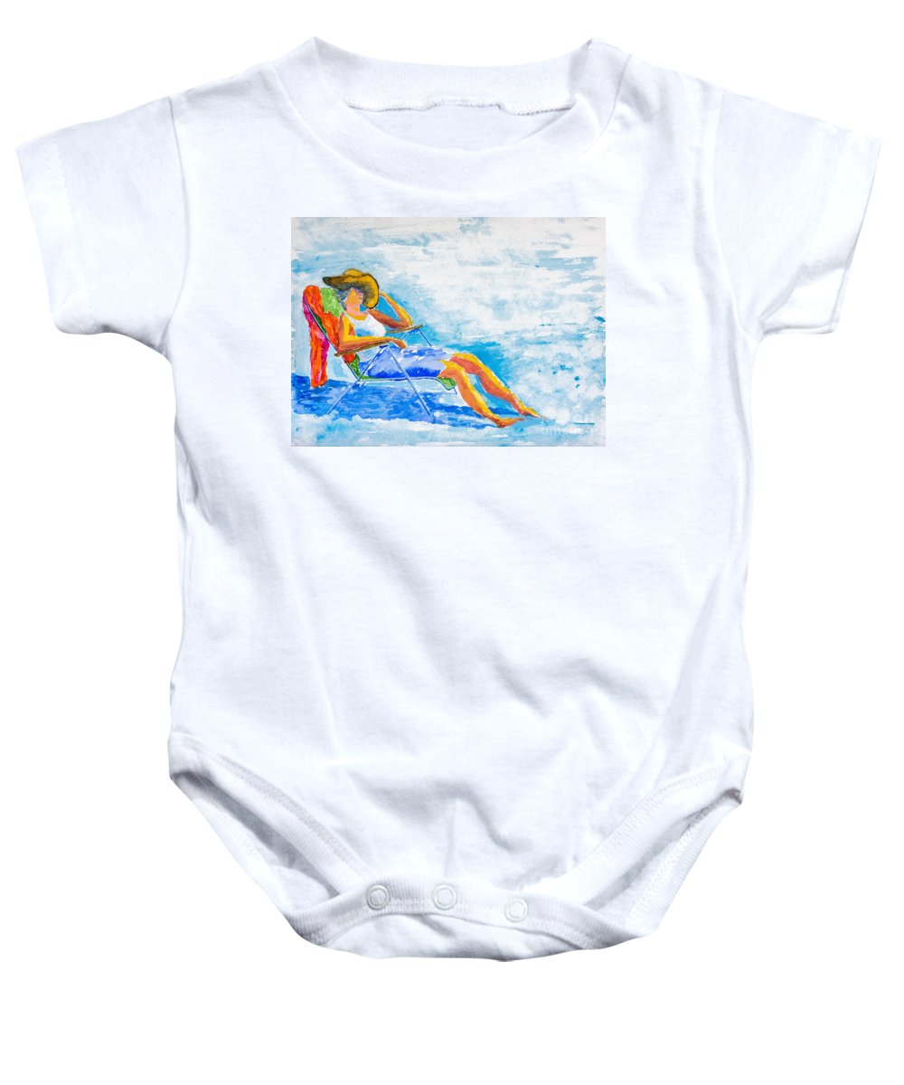 Nature Baby Onesie featuring the painting Dena At The Beach by Walt Brodis