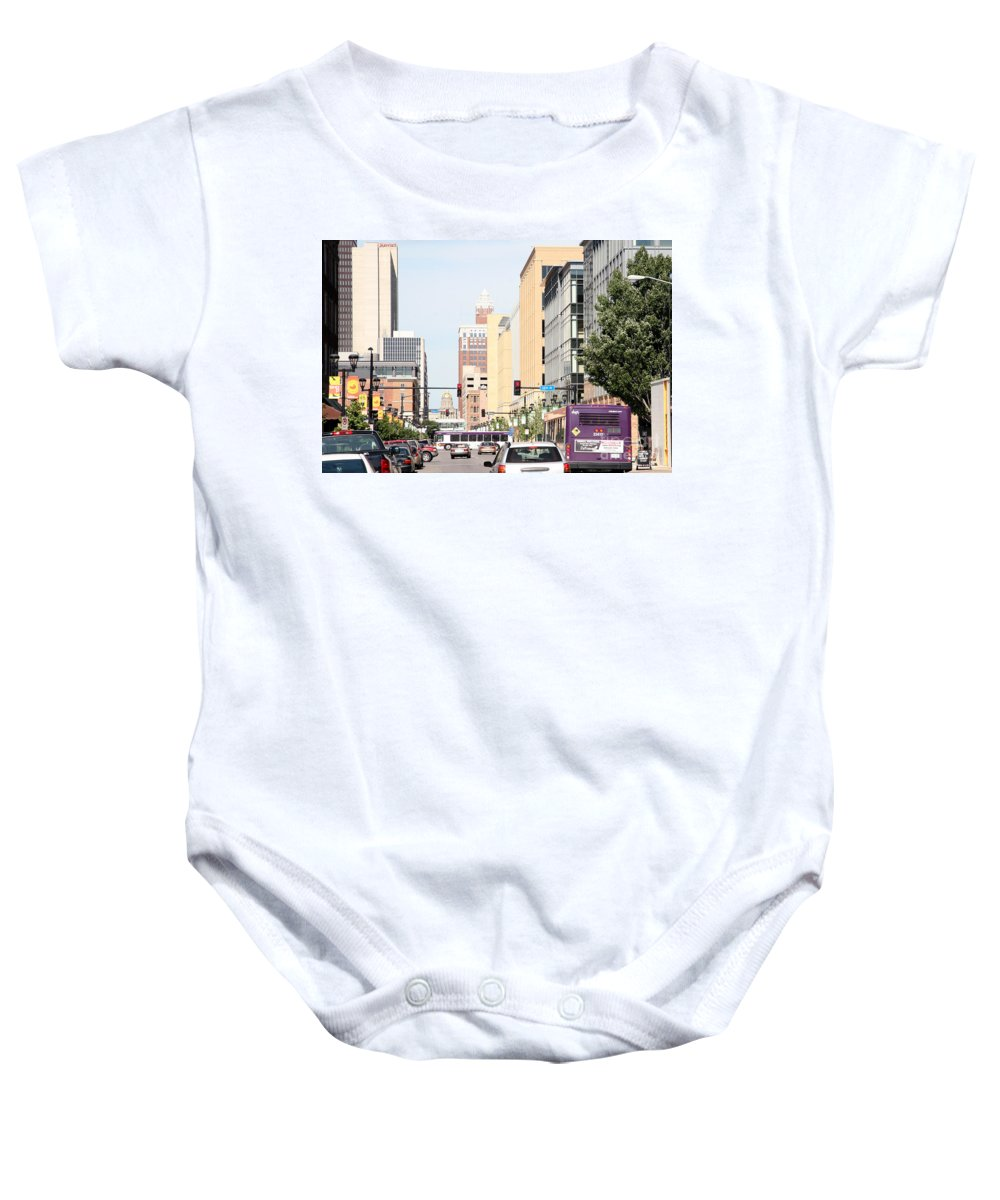 13th Street Baby Onesie featuring the photograph Des Moines Iowa 13th Street by Bill Cobb