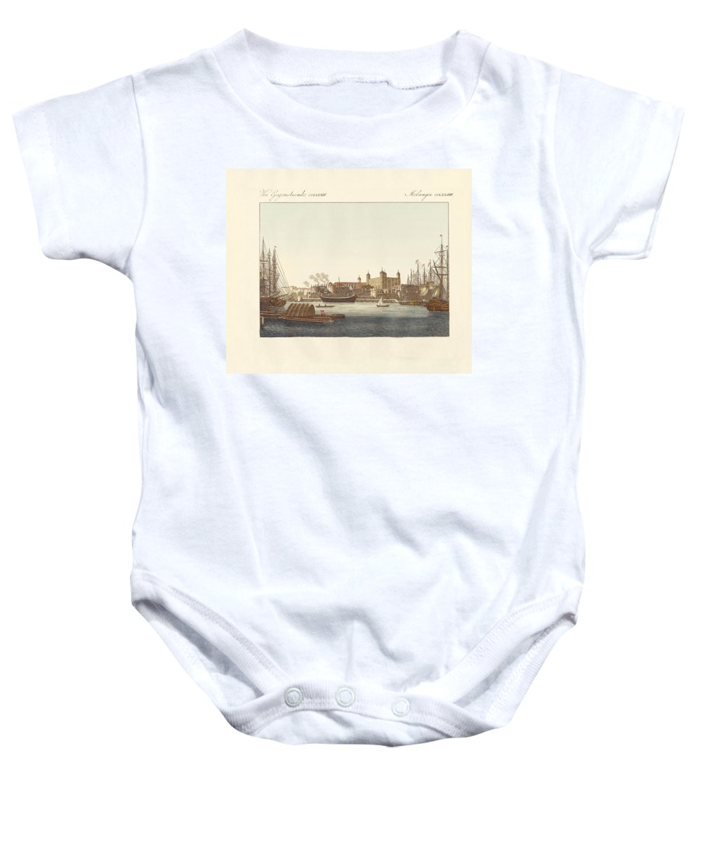 Bertuch Baby Onesie featuring the drawing Description Of The Tower Of London by Splendid Art Prints