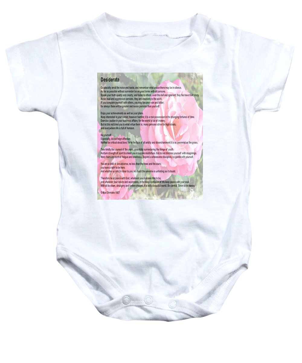 Desiderata Baby Onesie featuring the photograph Desiderata On Garden Scene With Pink Roses by Barbara Griffin