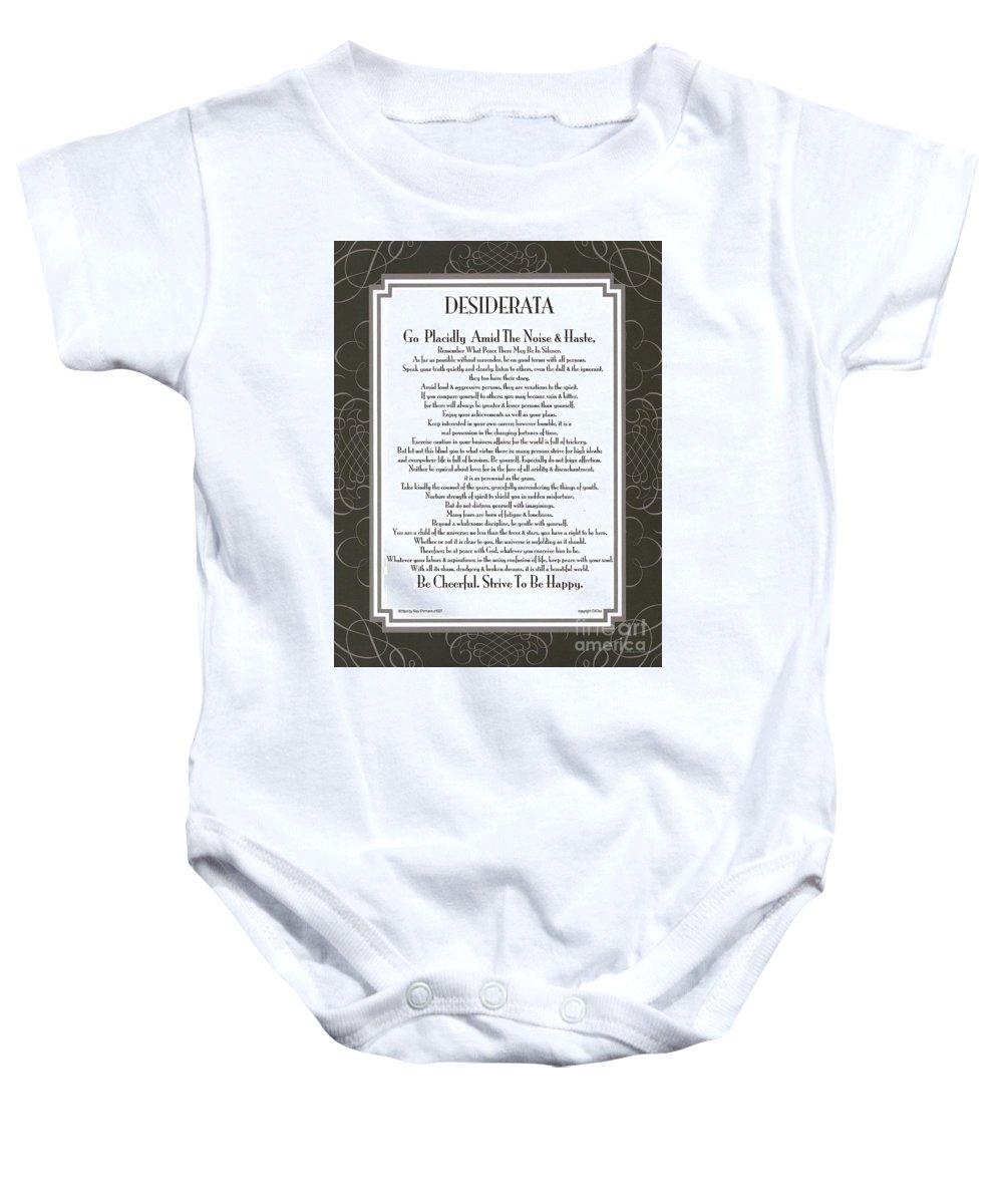 Desiderata Baby Onesie featuring the mixed media Desiderata Squared Swirls by Desiderata Gallery