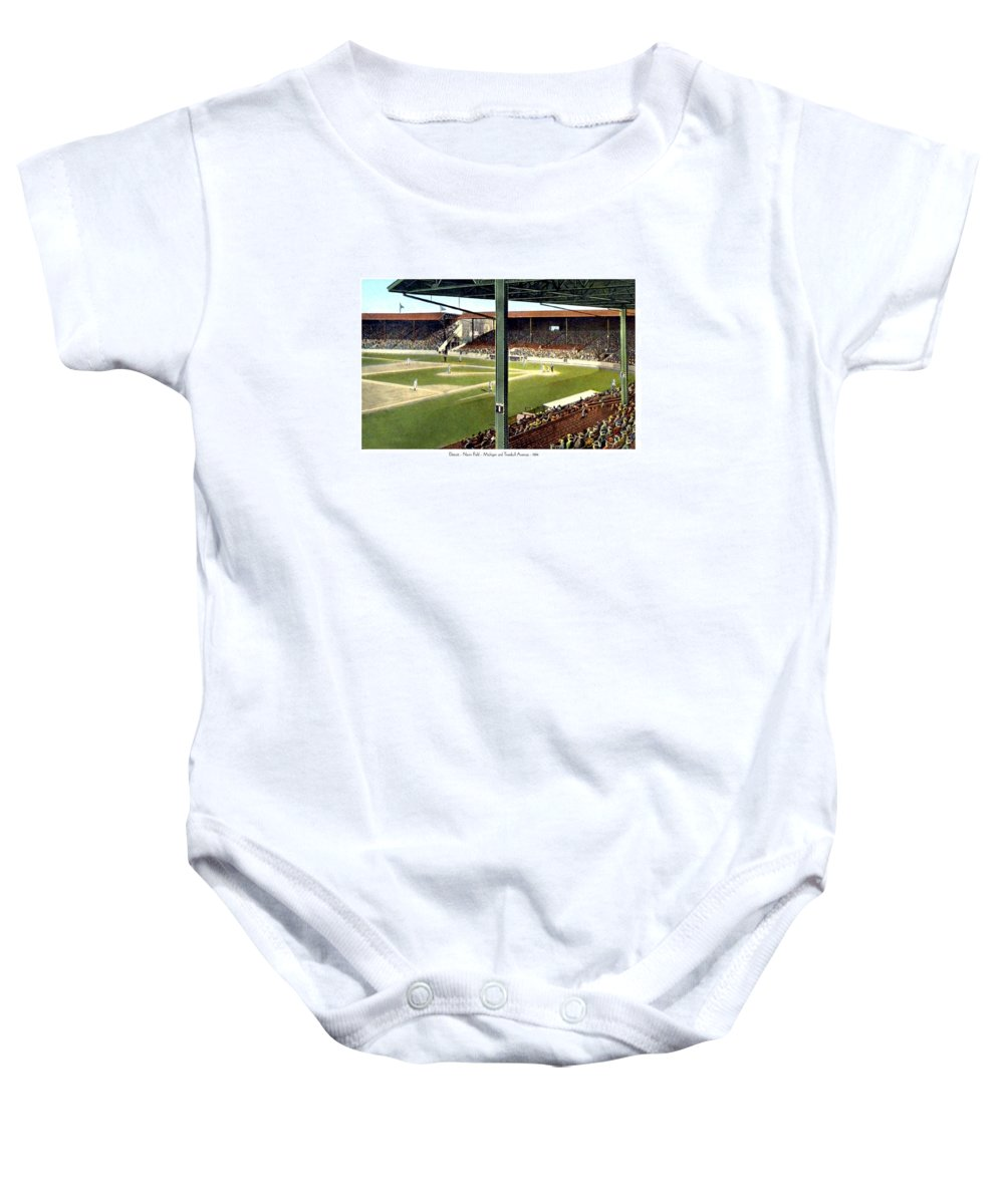 Navin Baby Onesie featuring the digital art Detroit - Navin Field - Detroit Tigers - Michigan And Trumbull Avenues - 1914 by John Madison