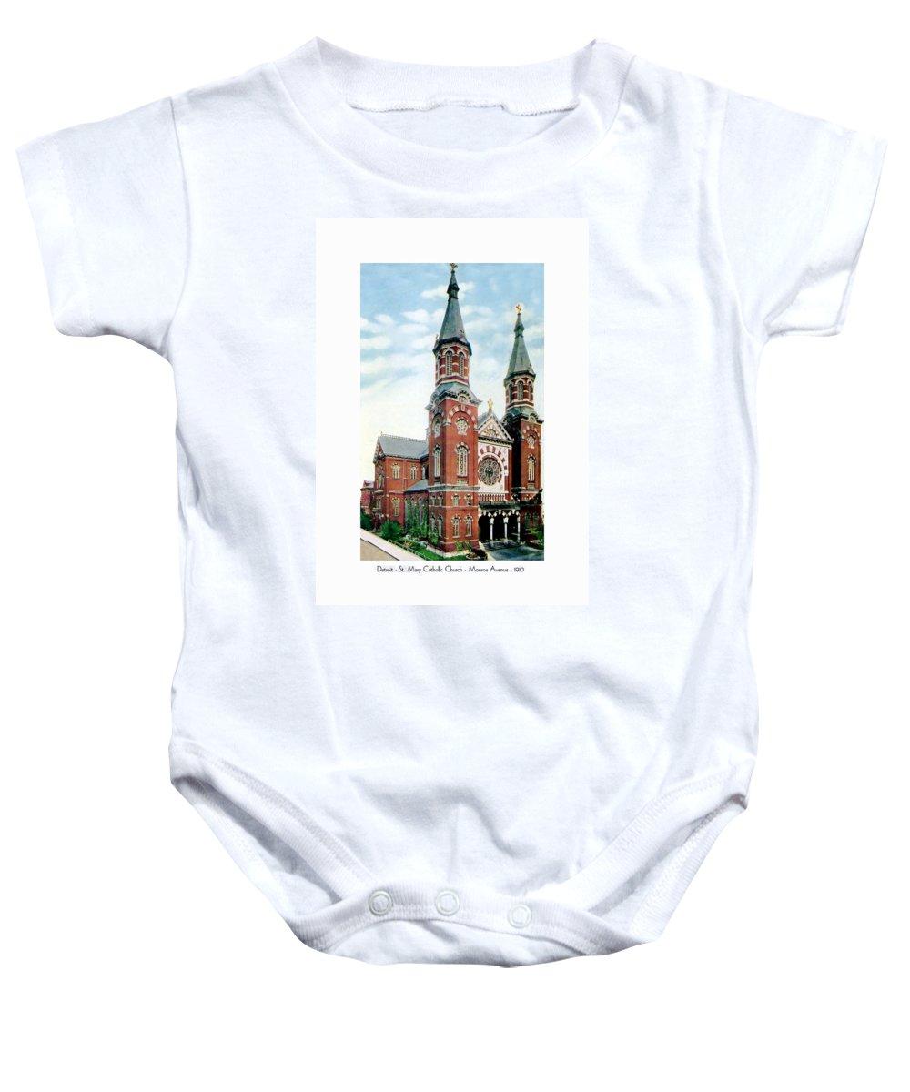 Detroit Baby Onesie featuring the digital art Detroit - St Mary Catholic Church - Monroe Avenue - 1910 by John Madison