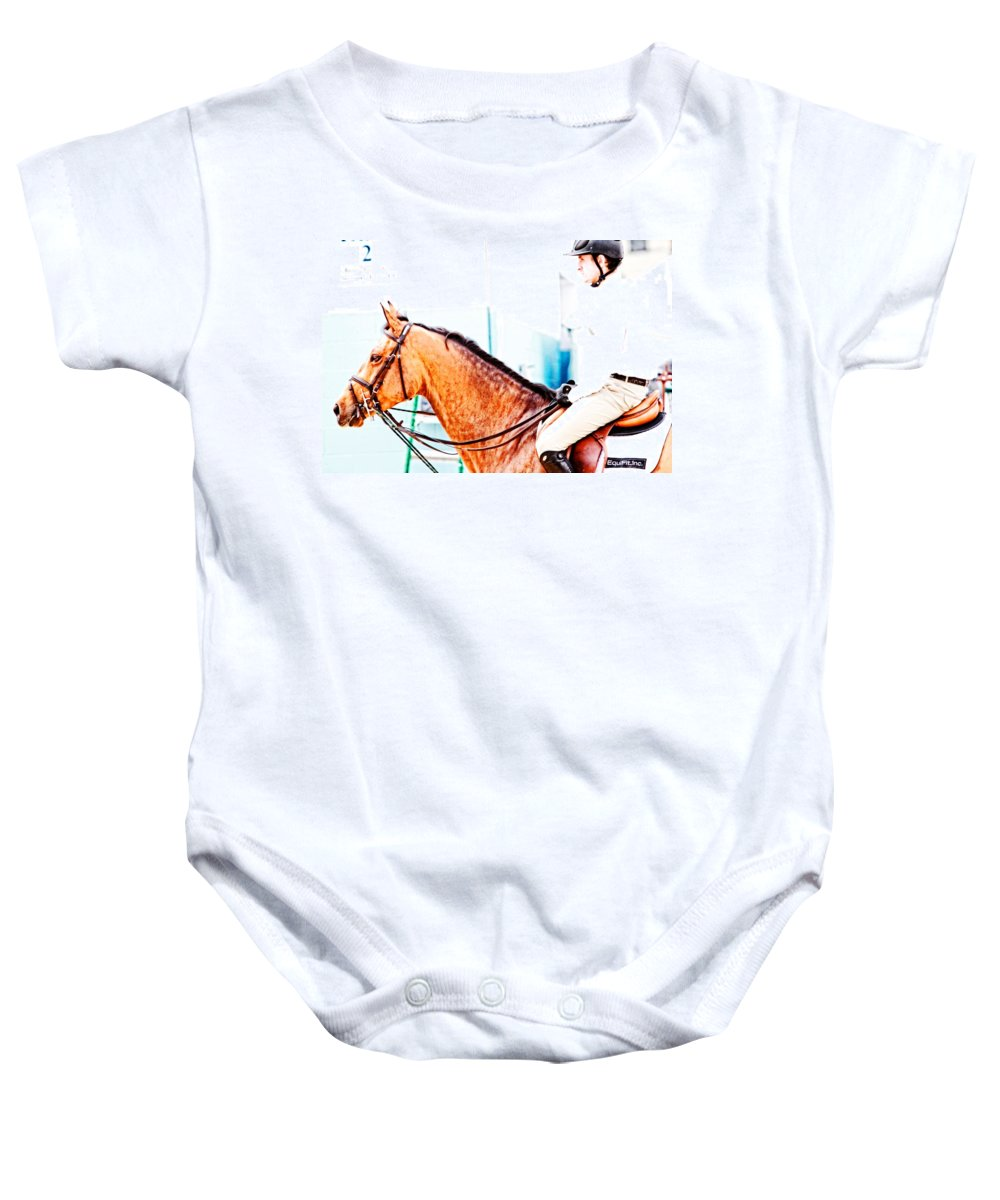 Horse Baby Onesie featuring the photograph Devon Waiting by Alice Gipson