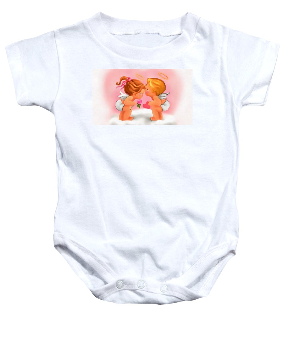 Digital Valentine Baby Onesie featuring the digital art Digital Valentine by Catherine Lott