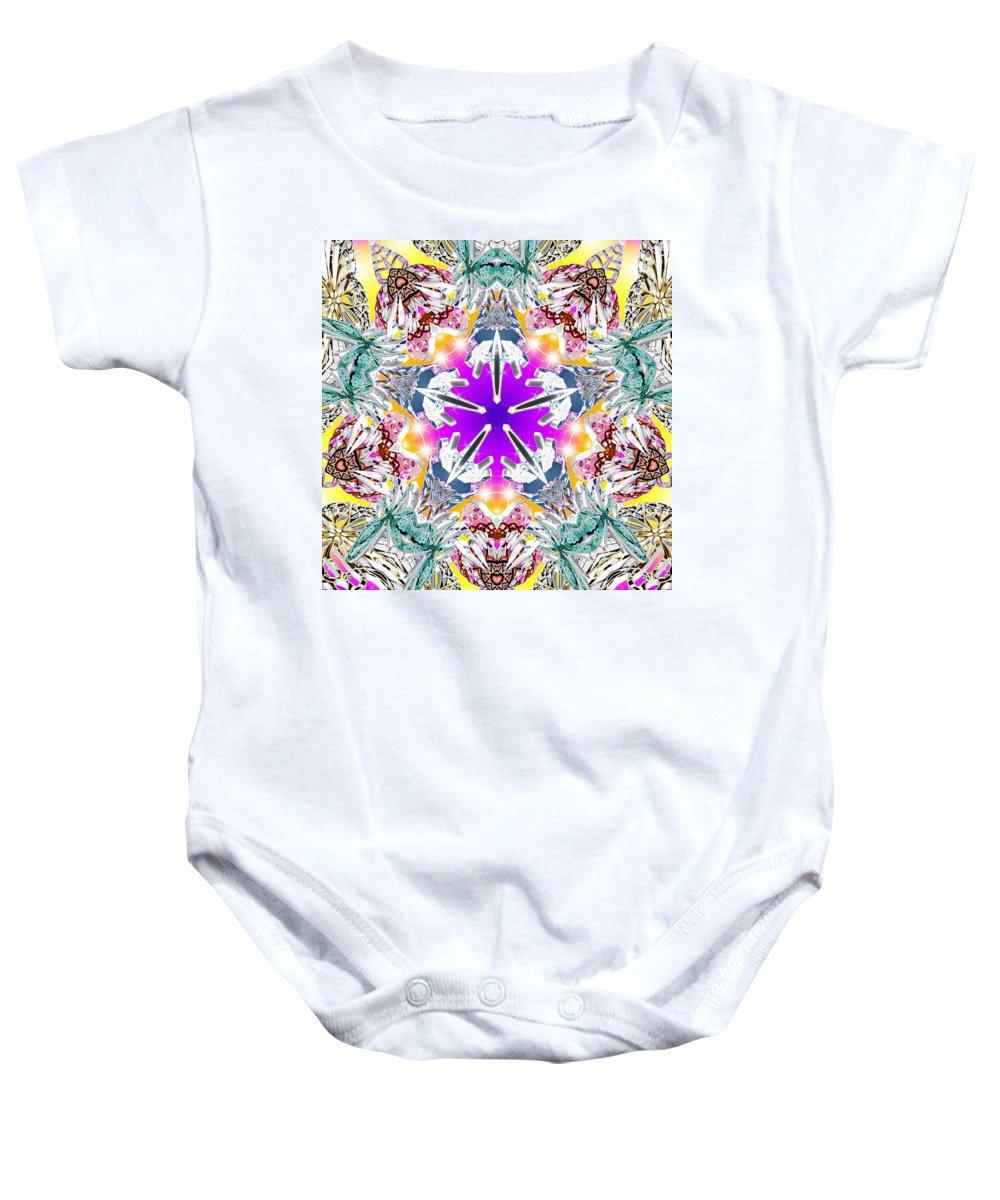 Sacredlife Mandalas Baby Onesie featuring the digital art Dimensional Birth by Derek Gedney
