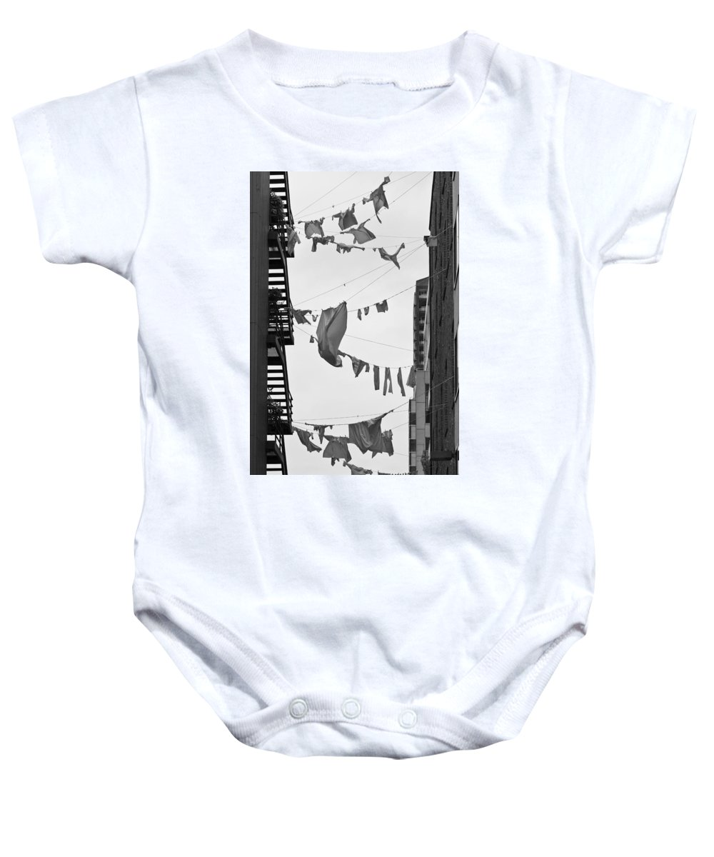 Hanging Laundry Baby Onesie featuring the photograph Dirty Laundry by Scott Campbell