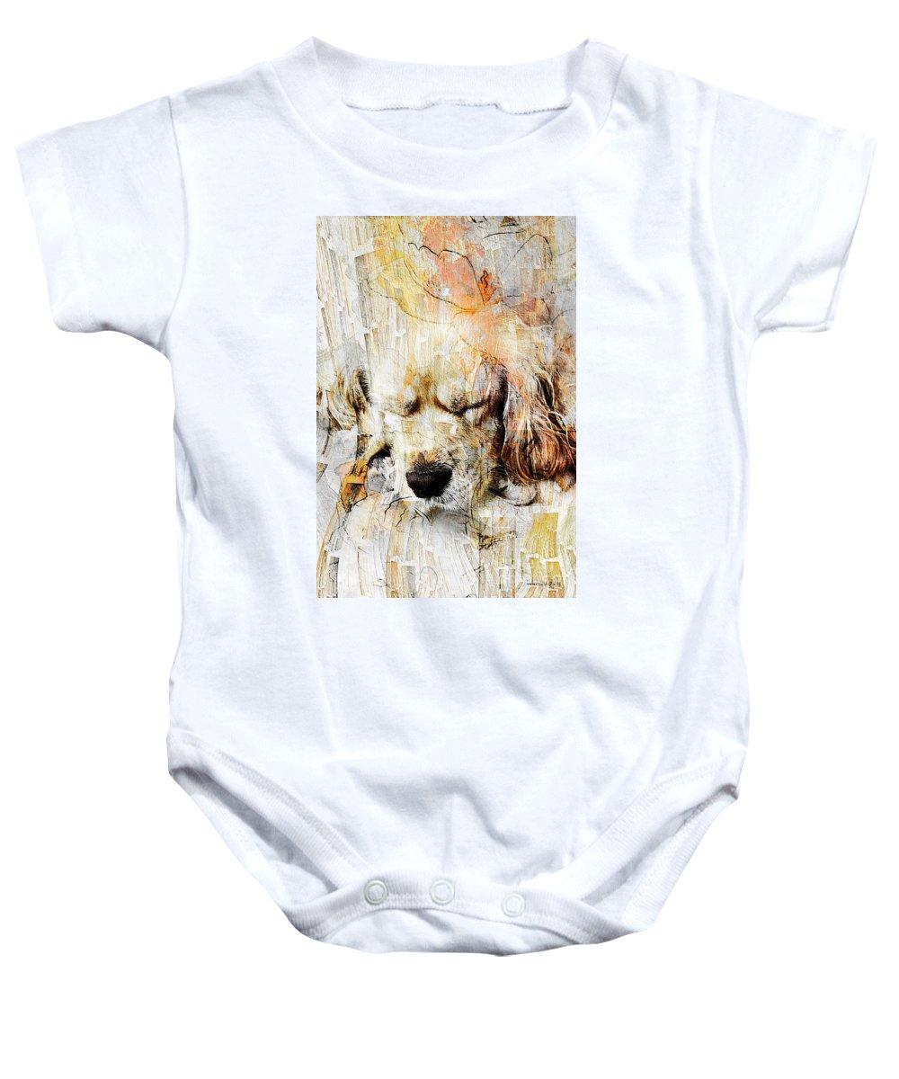 Dog Baby Onesie featuring the digital art Dog 391-08-13 Marucii by Marek Lutek