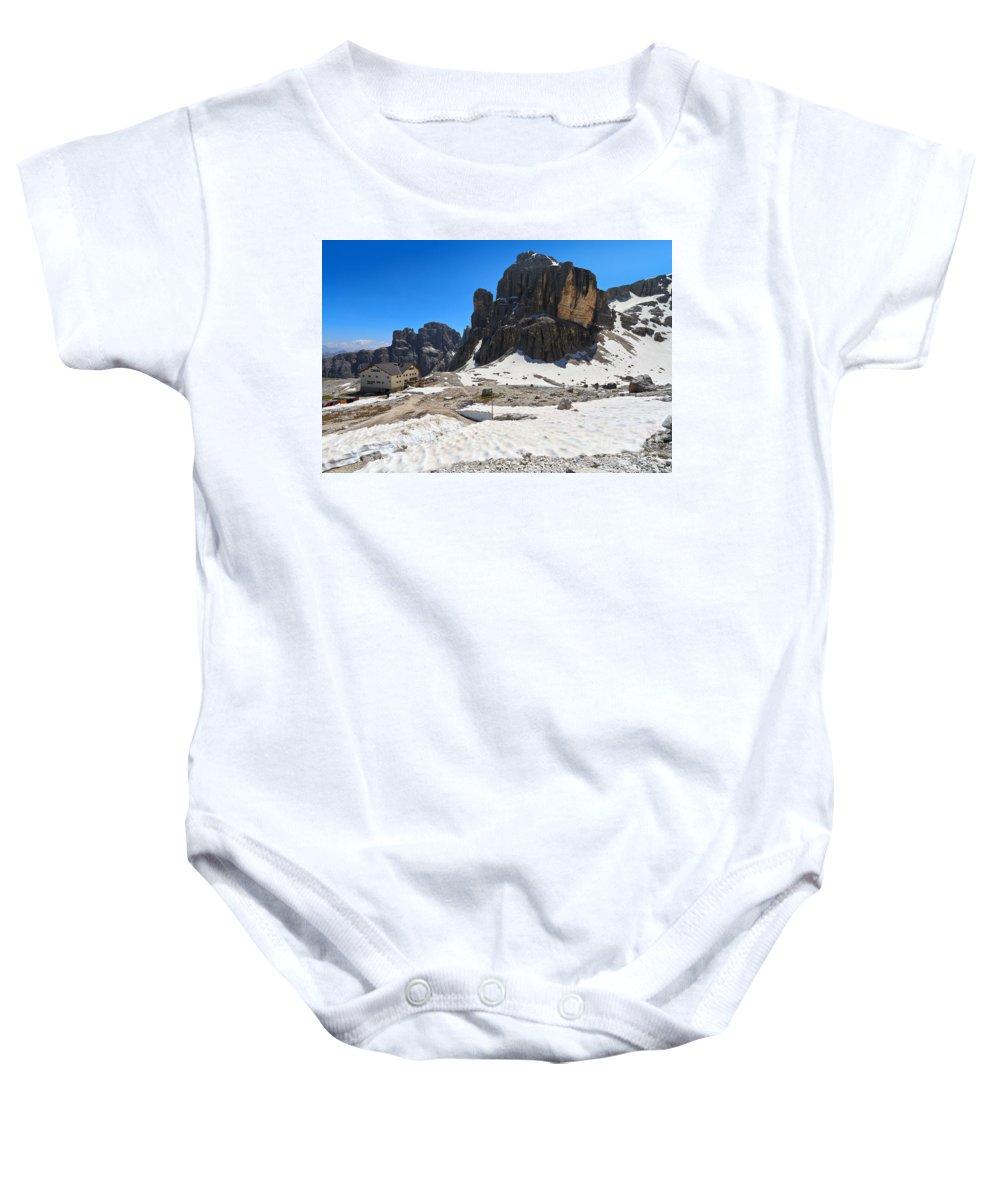 Alto Adige Baby Onesie featuring the photograph Dolomiti - Pisciadu Peak by Antonio Scarpi