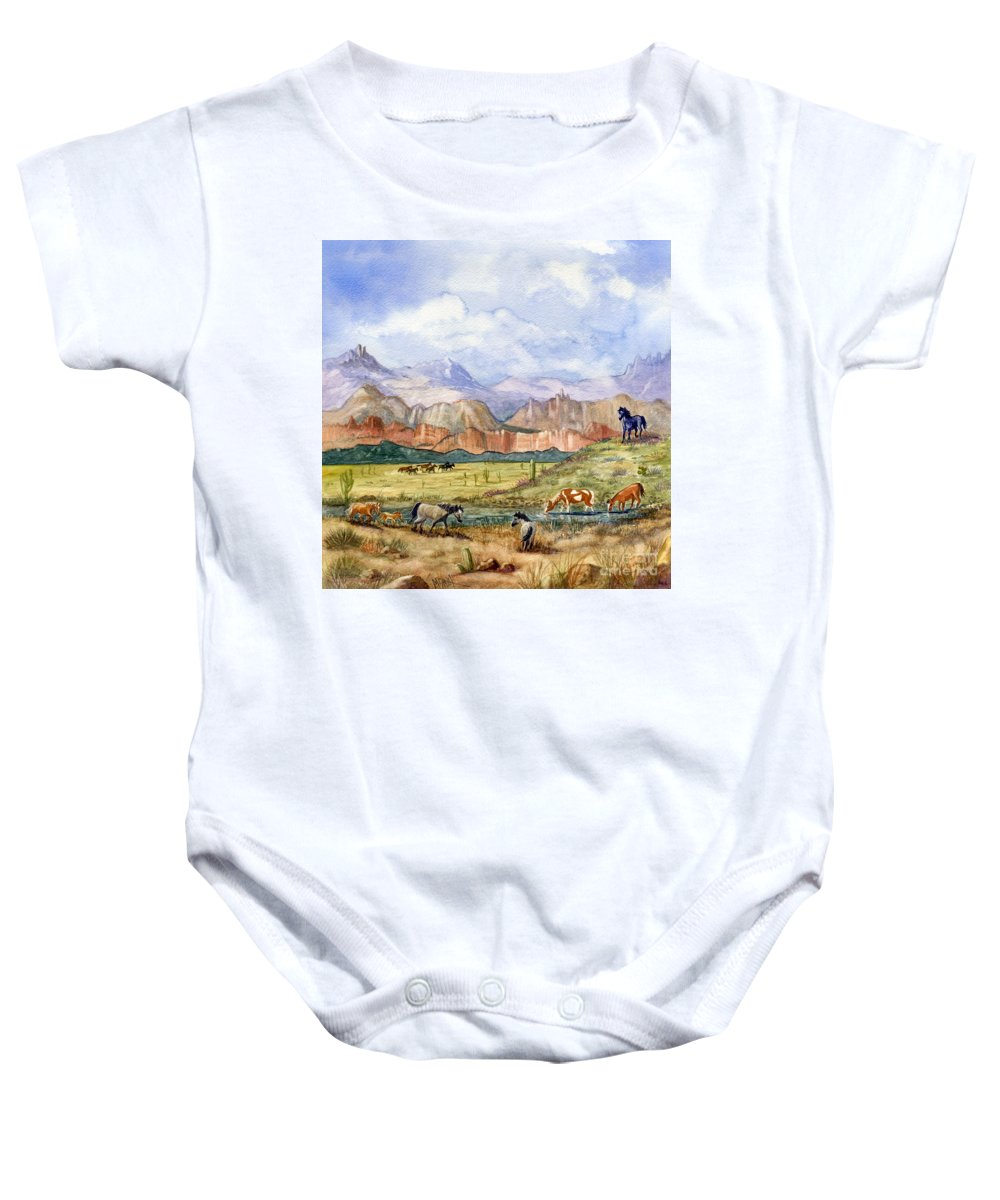 Mustang Baby Onesie featuring the painting Don't Fence Me In Part Three by Marilyn Smith