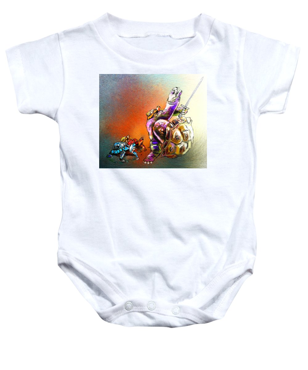 Animals Baby Onesie featuring the painting Dont Touch My Children by Miki De Goodaboom