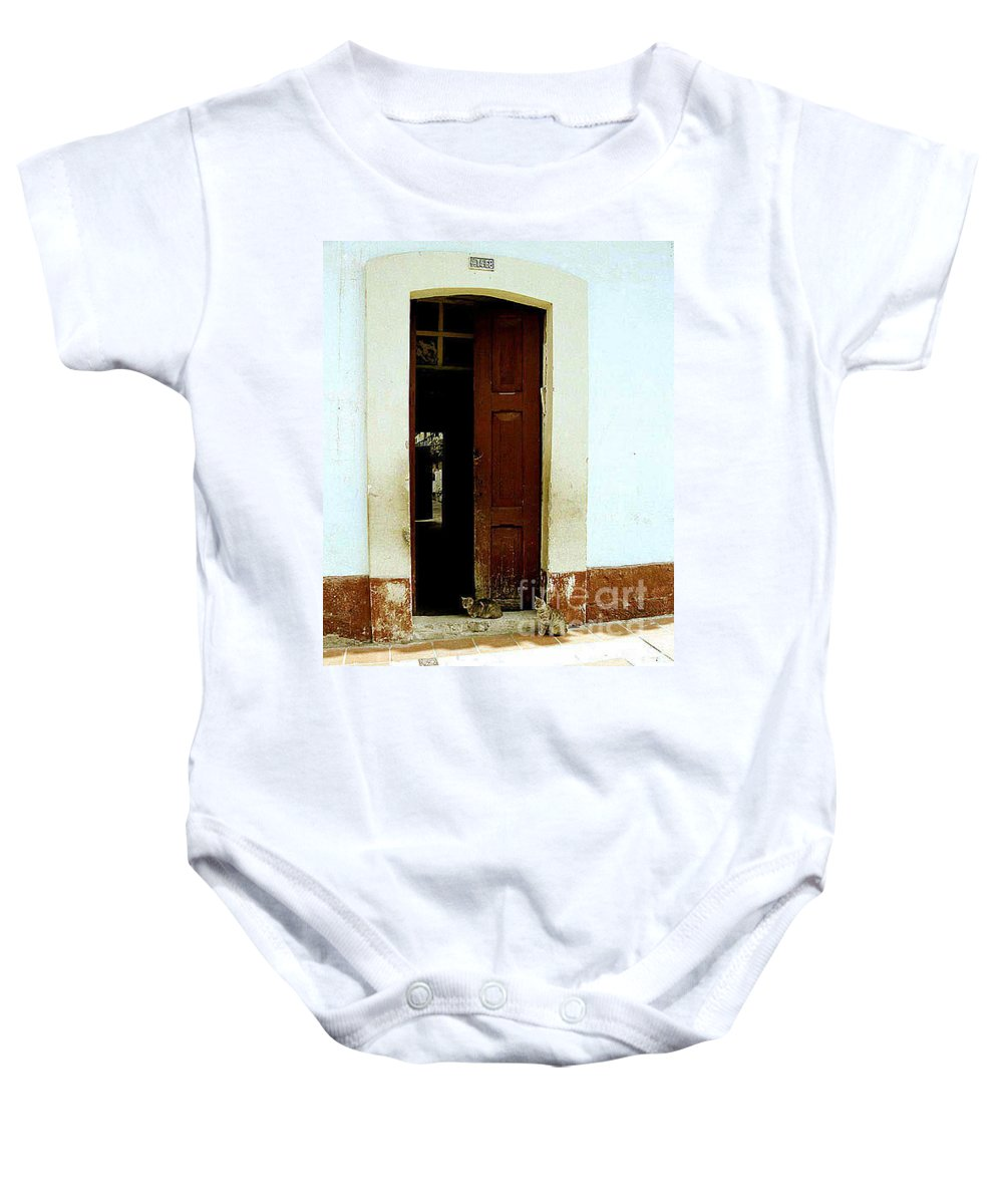 Cats Baby Onesie featuring the photograph Dos Puertas Con Dos Gatos by Kathy McClure