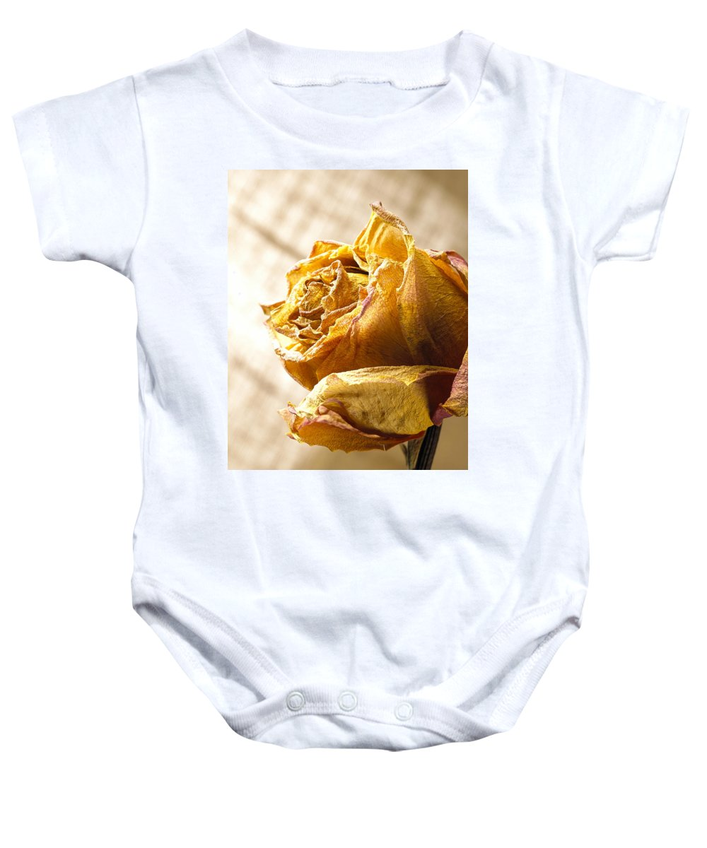 Flower Baby Onesie featuring the photograph Dried Yellow Rose by Daniel Troy