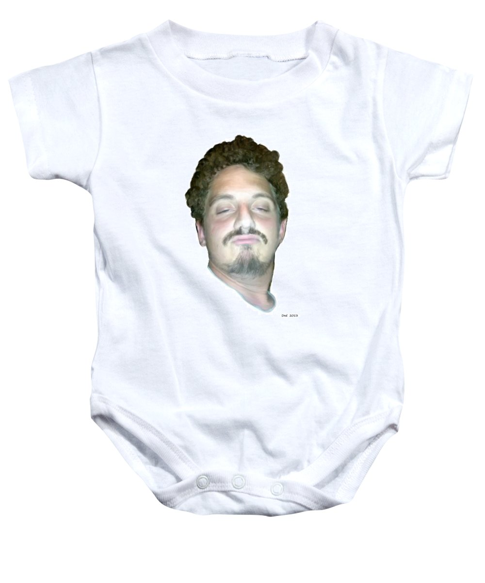 Dave Baby Onesie featuring the painting Droopy David by Bruce Nutting