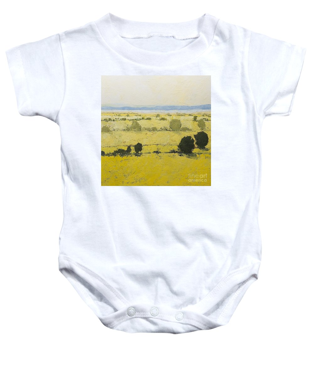 Landscape Baby Onesie featuring the painting Dry Grass by Allan P Friedlander