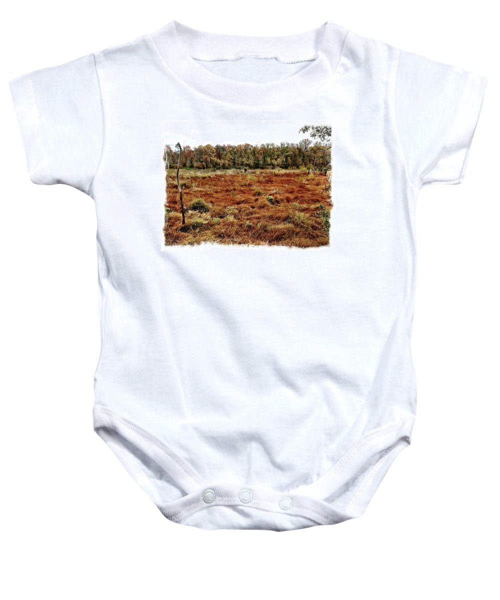 Marsh Baby Onesie featuring the photograph Dry Swamp by Michele Monk