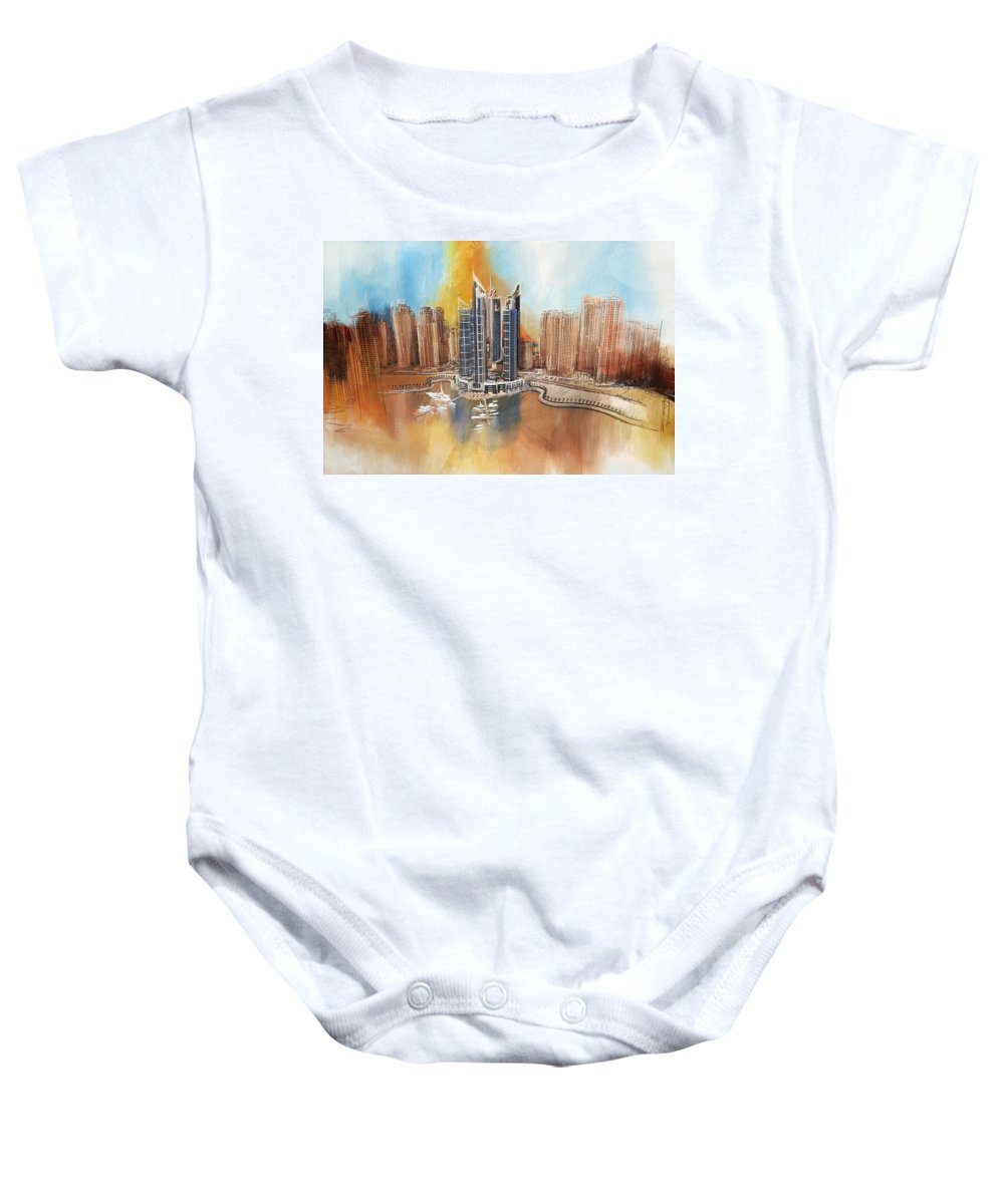 Dubai Baby Onesie featuring the painting Dubai Marina Complex by Corporate Art Task Force