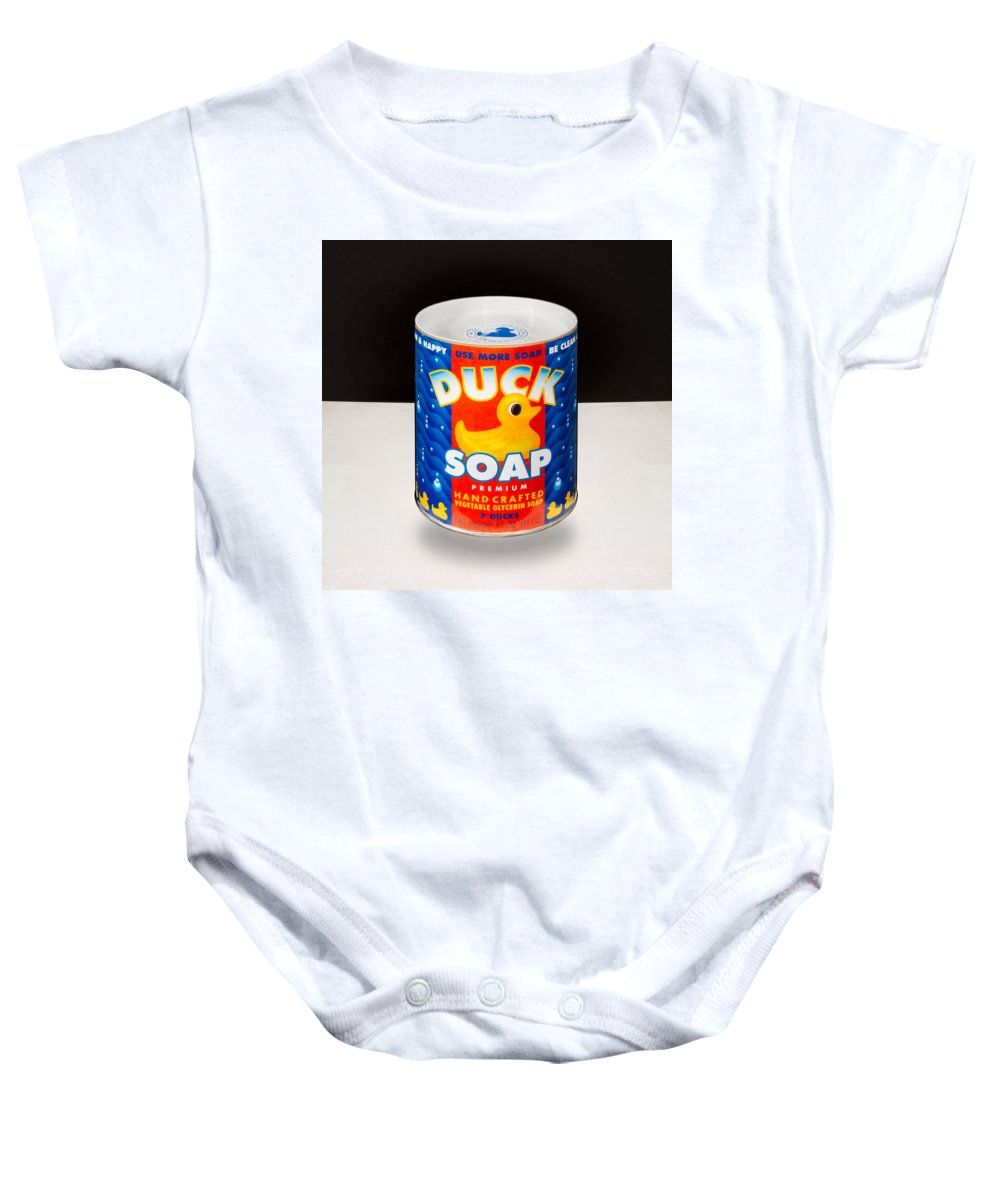 Black And White Baby Onesie featuring the photograph Duck Soap by Yo Pedro