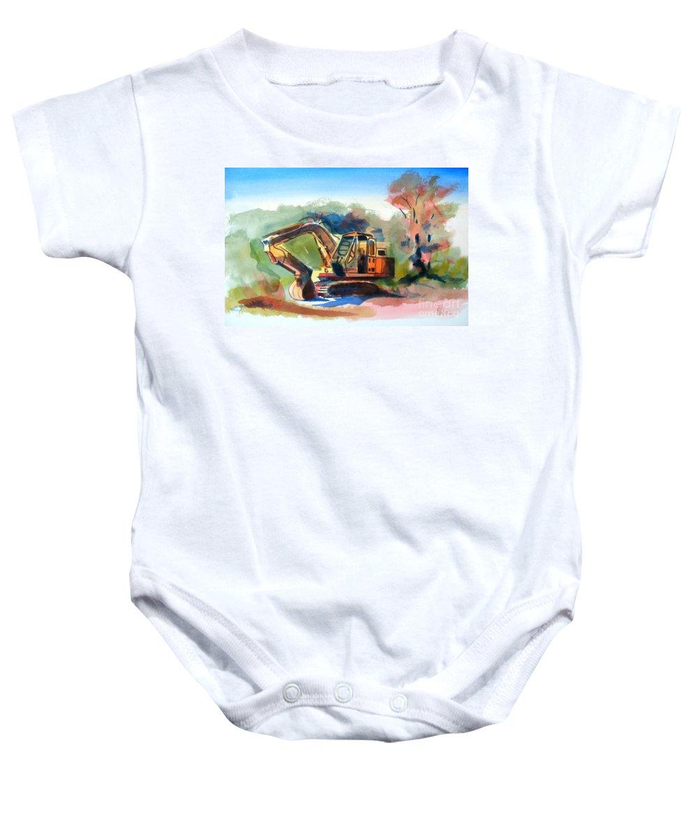 Duty Dozer Baby Onesie featuring the painting Duty Dozer by Kip DeVore