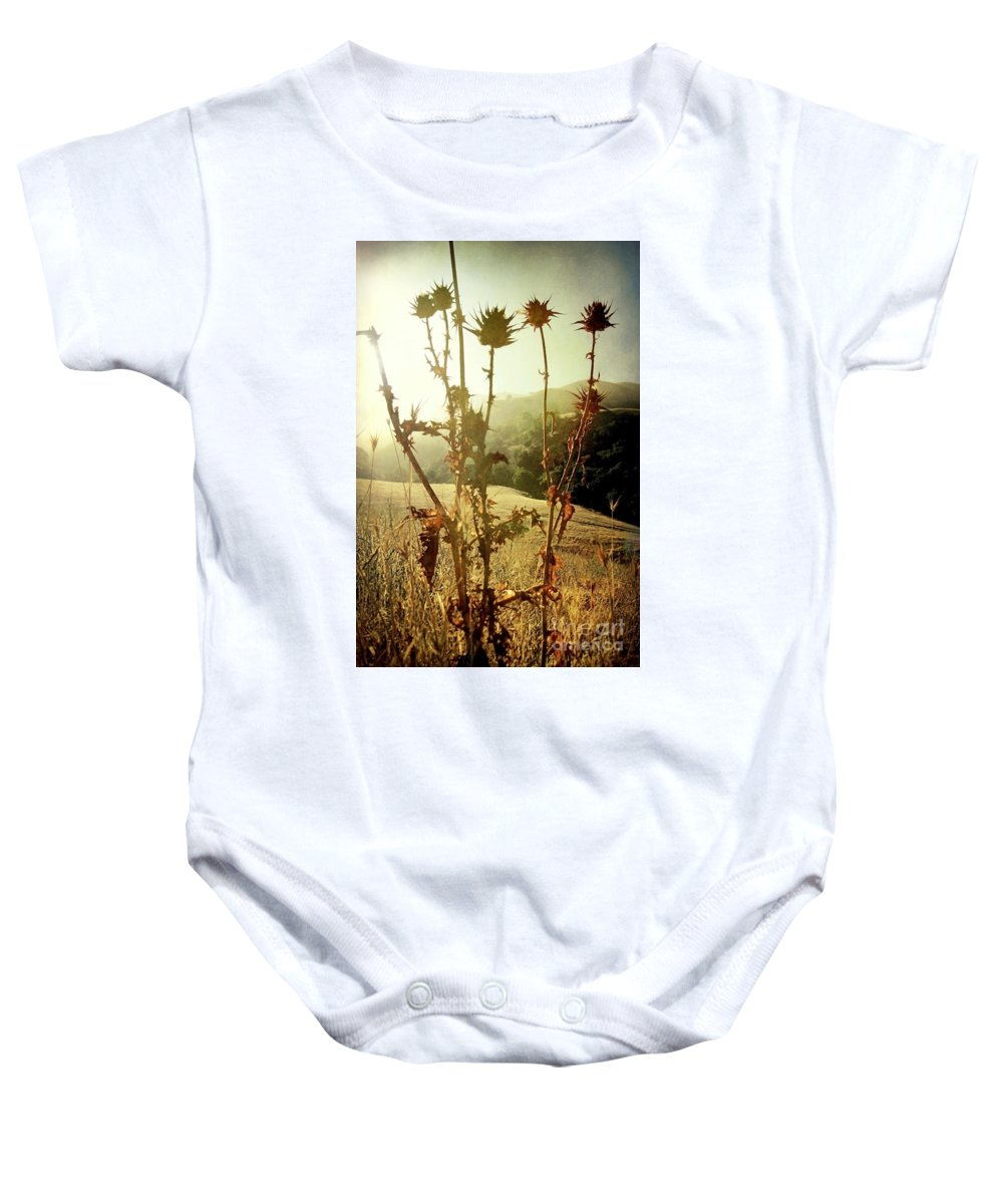Weeds Baby Onesie featuring the photograph Each New Day Is A Gift by Ellen Cotton