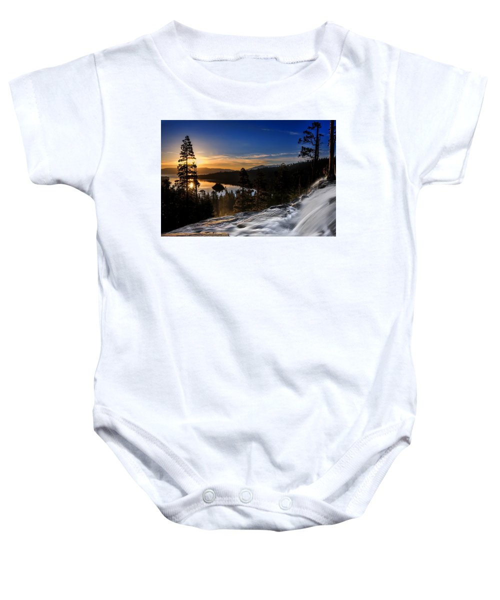 Landscape Baby Onesie featuring the photograph Eagle Falls by Maria Coulson