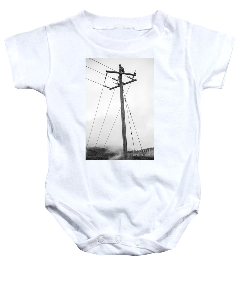 Soaring Baby Onesie featuring the photograph Eagle In Fog by Alanna DPhoto