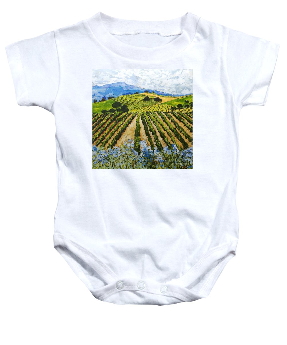 Landscape Baby Onesie featuring the painting Early Crop by Allan P Friedlander