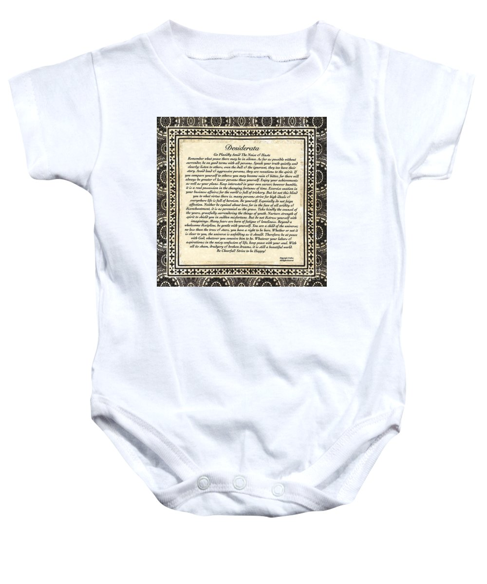 Desiderata Baby Onesie featuring the mixed media Early Gothic Style Desiderata by Desiderata Gallery