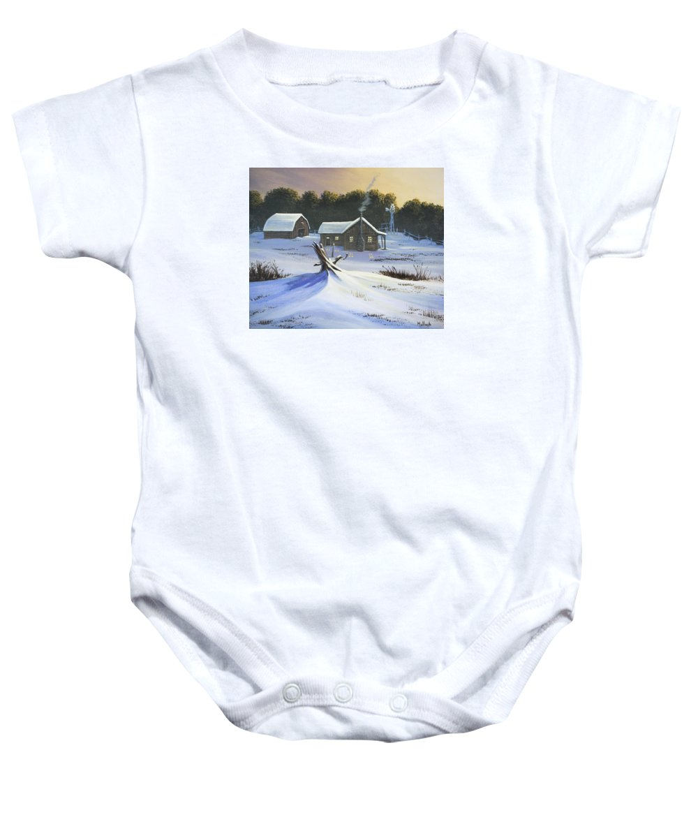 Sunset Baby Onesie featuring the painting Early Snow by Jack Malloch